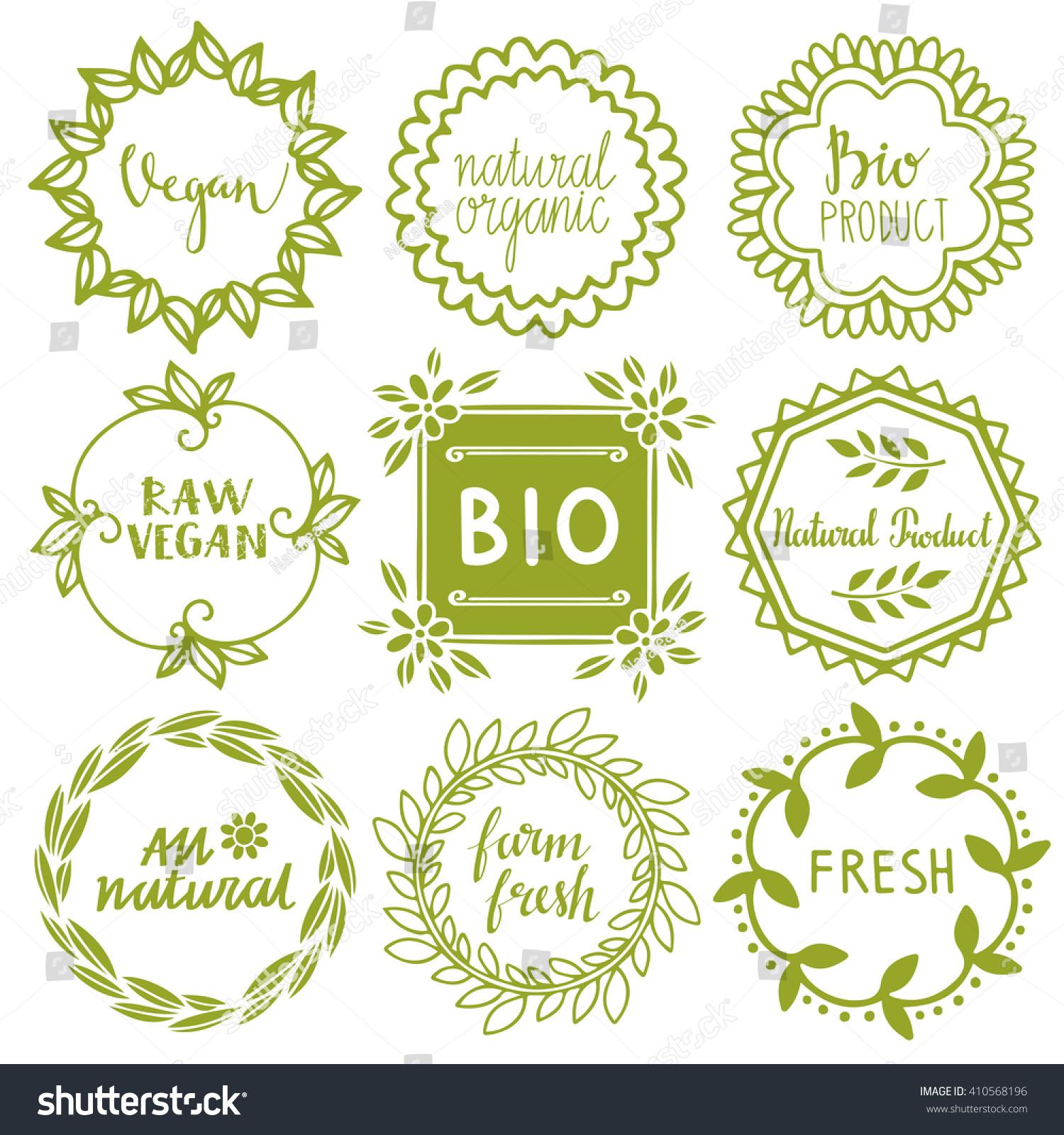 Organic Food Labels Set Bio Eco Stock Vector 410568196 - Shutterstock