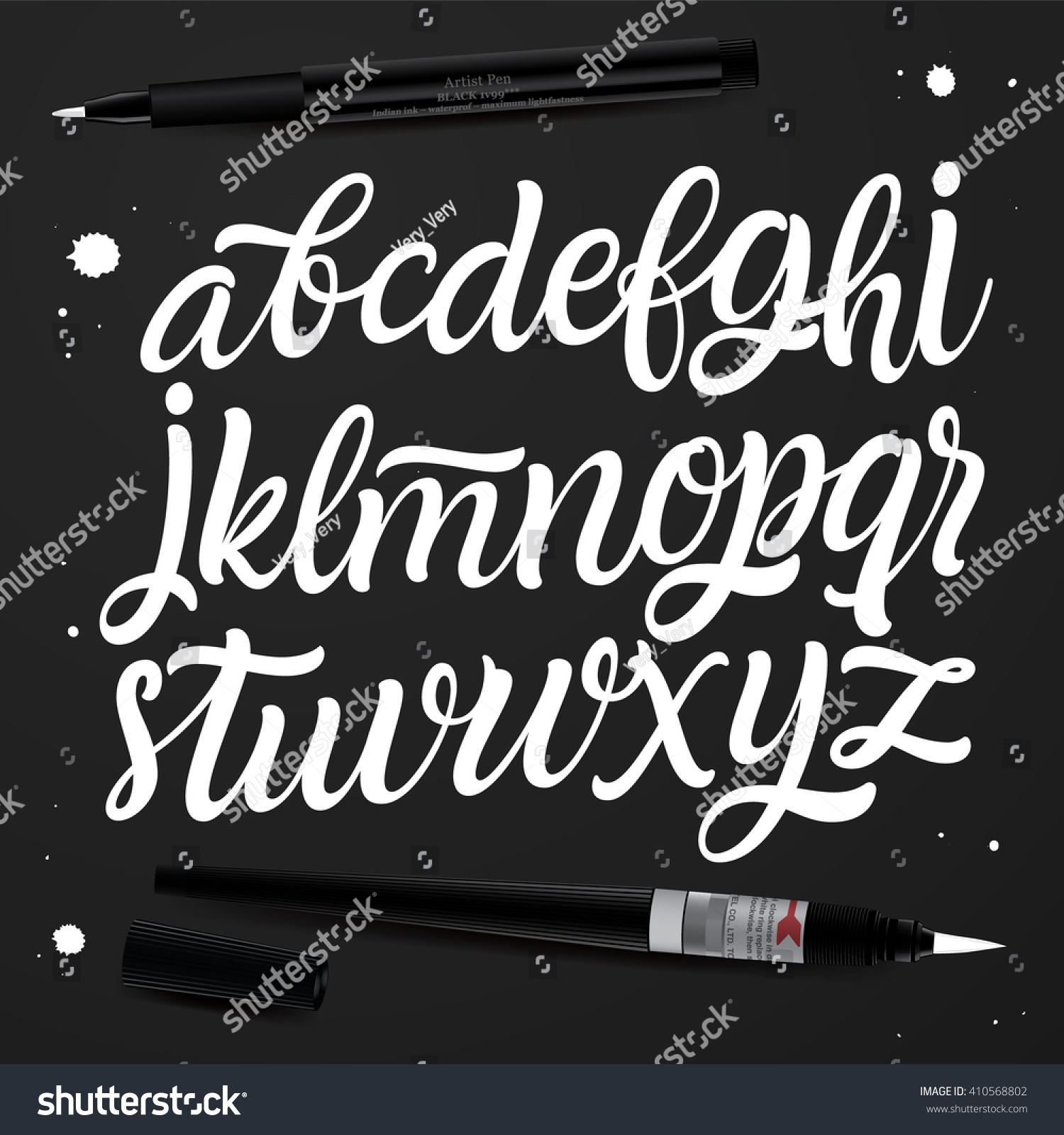 Handwritten brush style modern calligraphy cursive stock