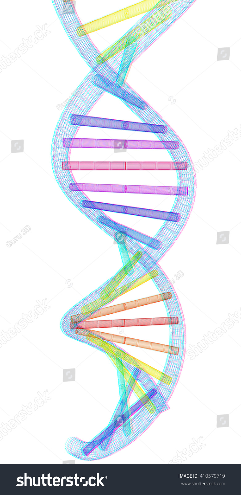 Dna structure model 3d illustration anaglyph stock illustration dna structure model 3d illustration anaglyph view with redcyan glasses to ccuart Gallery
