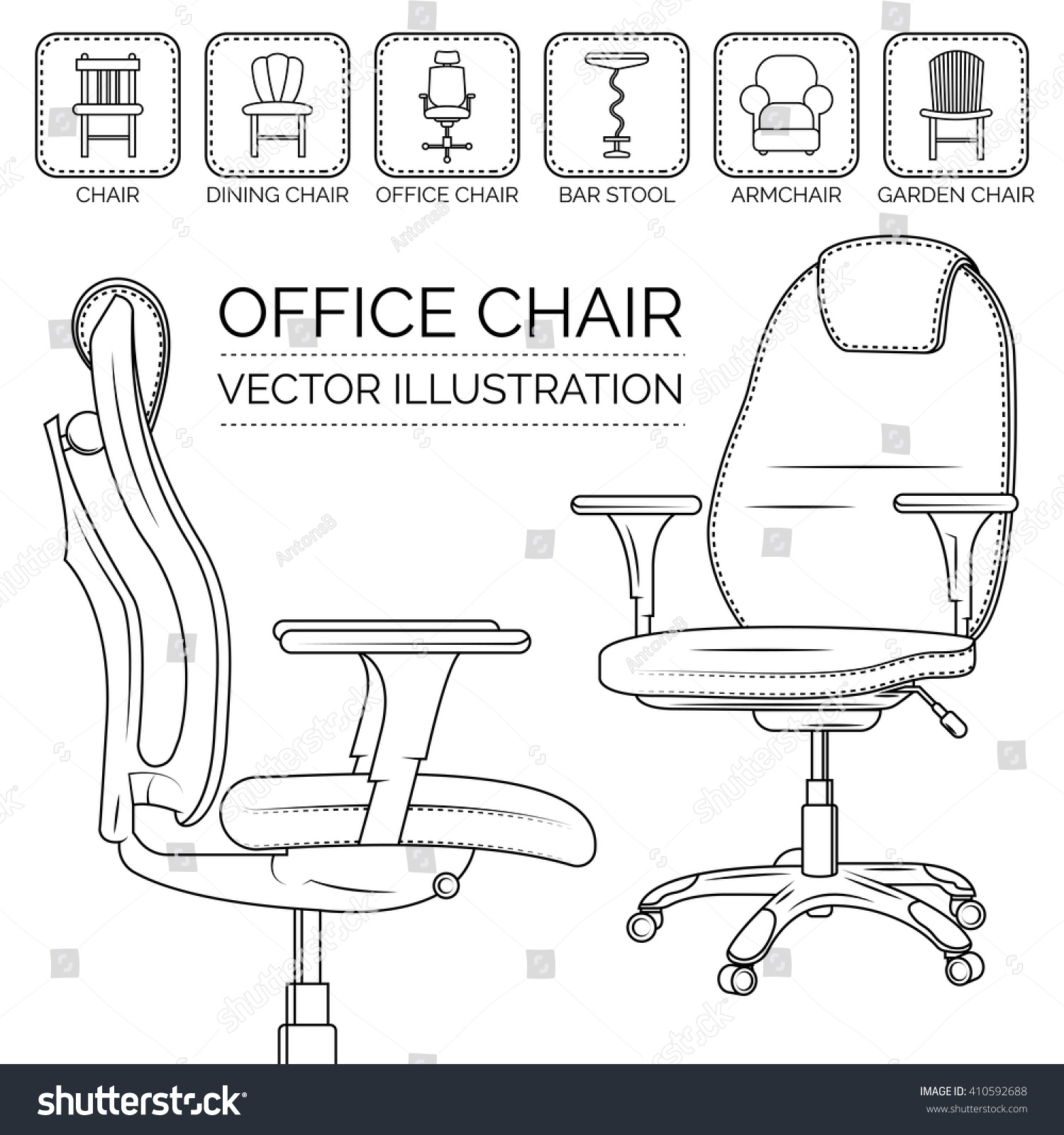 fice Chair Different Types Chairs Icon Stock Vector