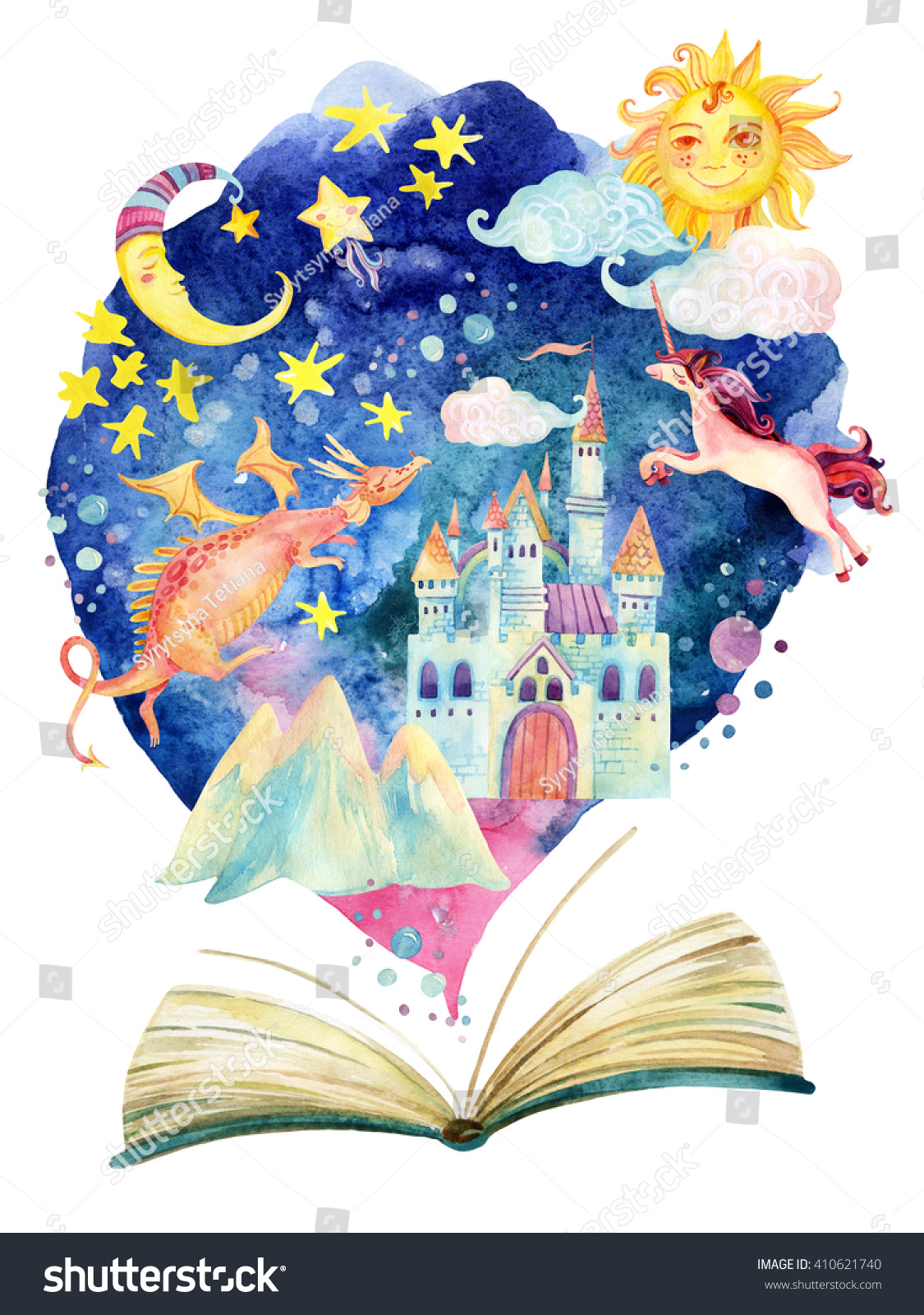 watercolor open book magic world fairy stock illustration knowledge adventure logopedia Creative Wonders Logo