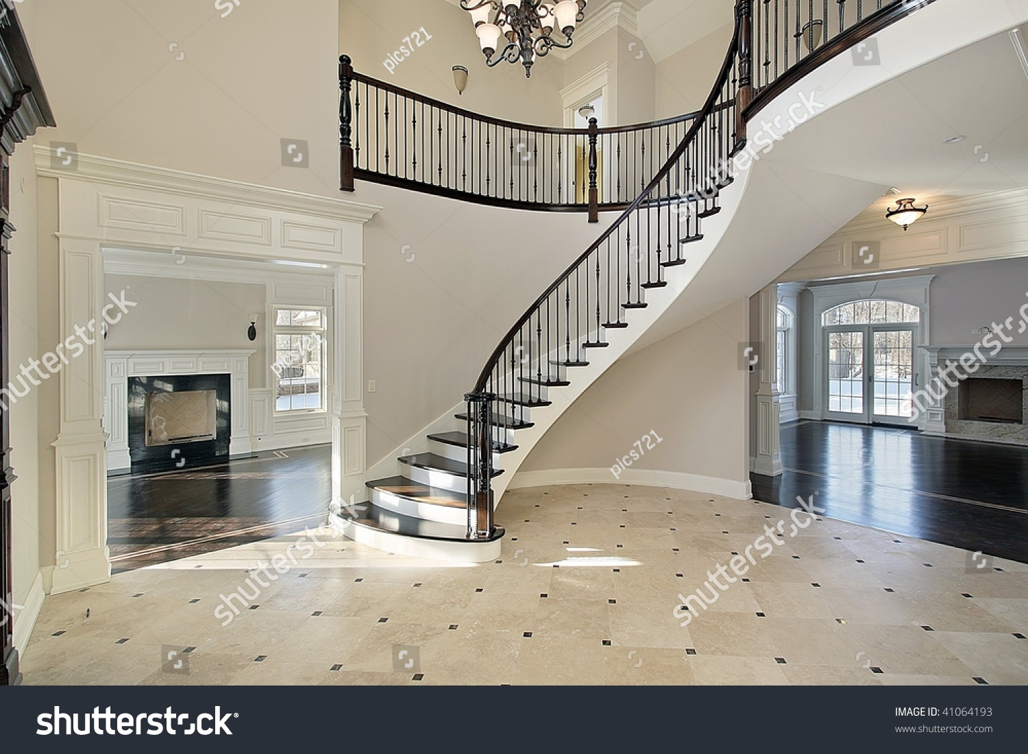 Foyer Curved Staircase Stock Photo 41064193 Shutterstock