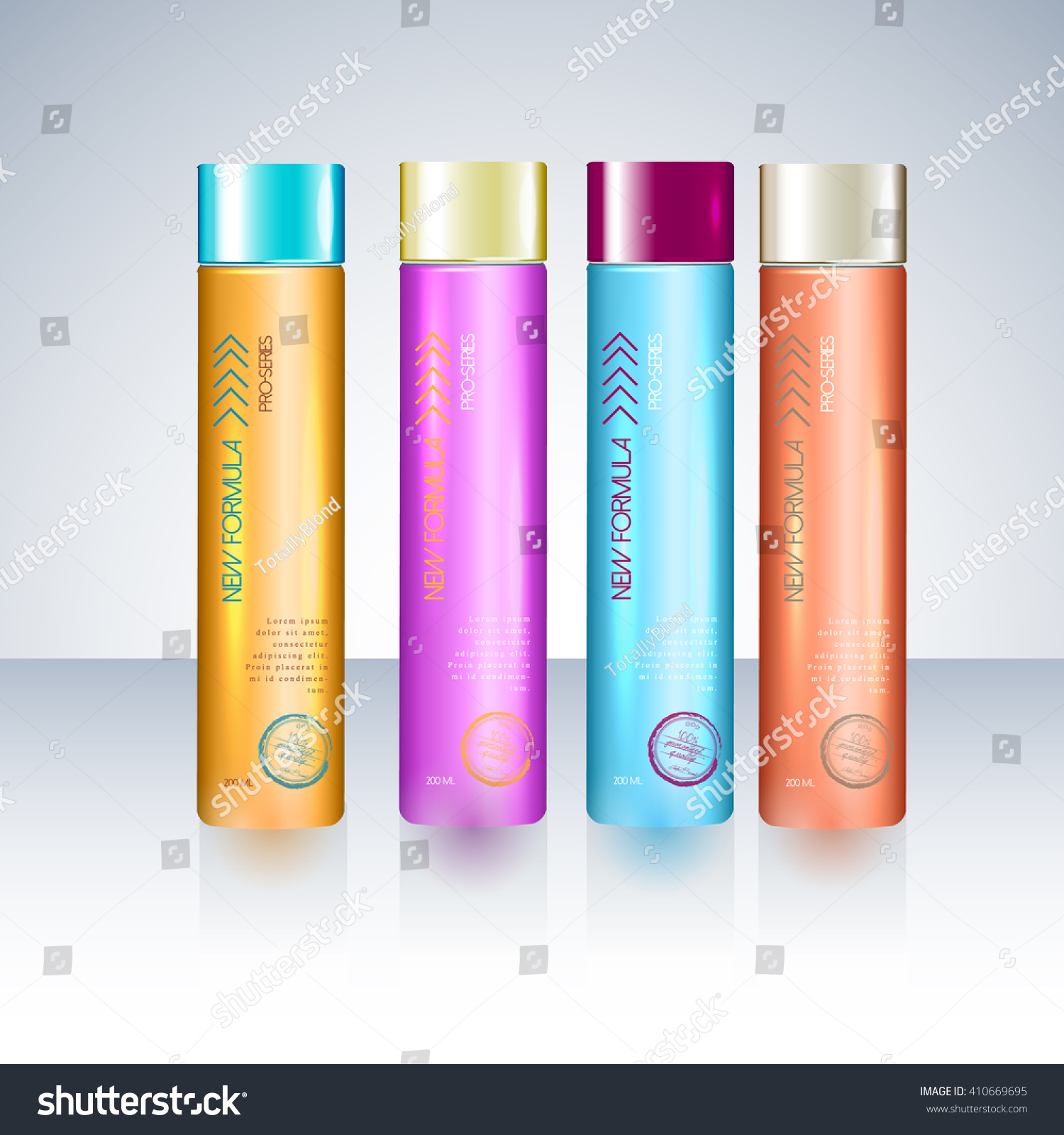 Bottles Sample Labels Shower Gel Shampoo Stock Vector 410669695 ...