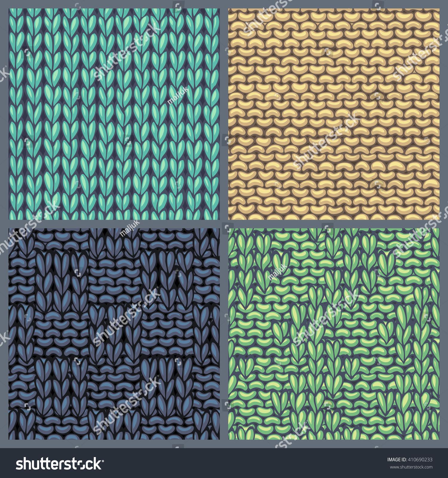 Vector Set Various Knitting Patterns Seamless Stock Vector (2018 ...