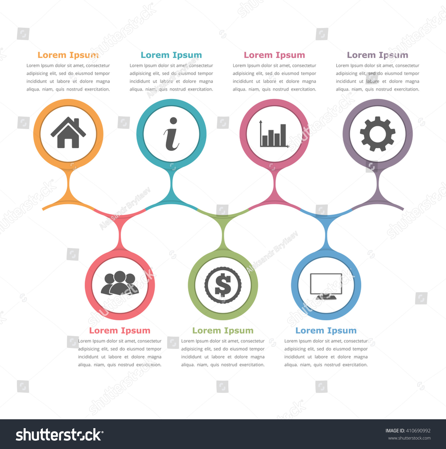 Flow chart template with icons and text, process diagram infographics,  business infographics, vector