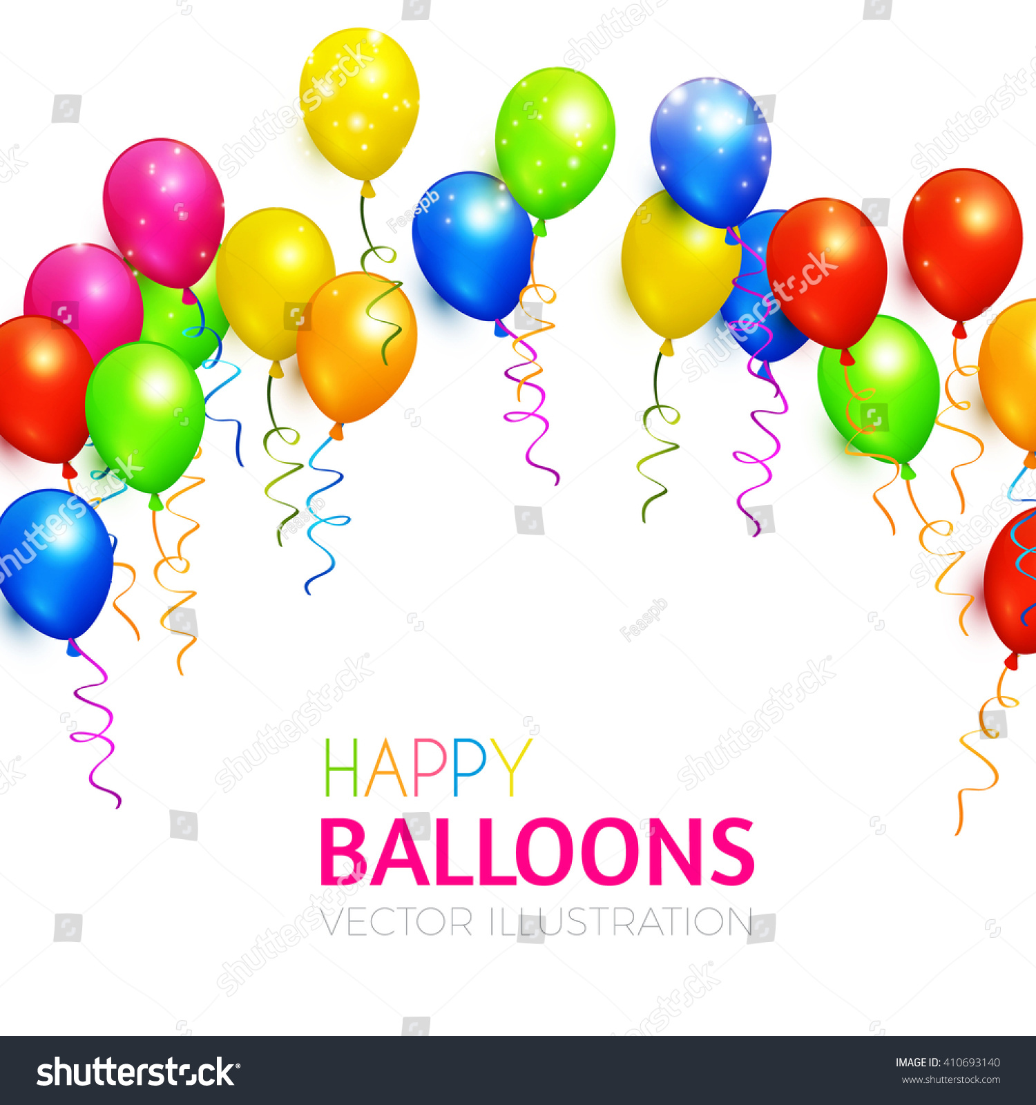 Balloons Background Various Colors Birthday Party Stock Vector