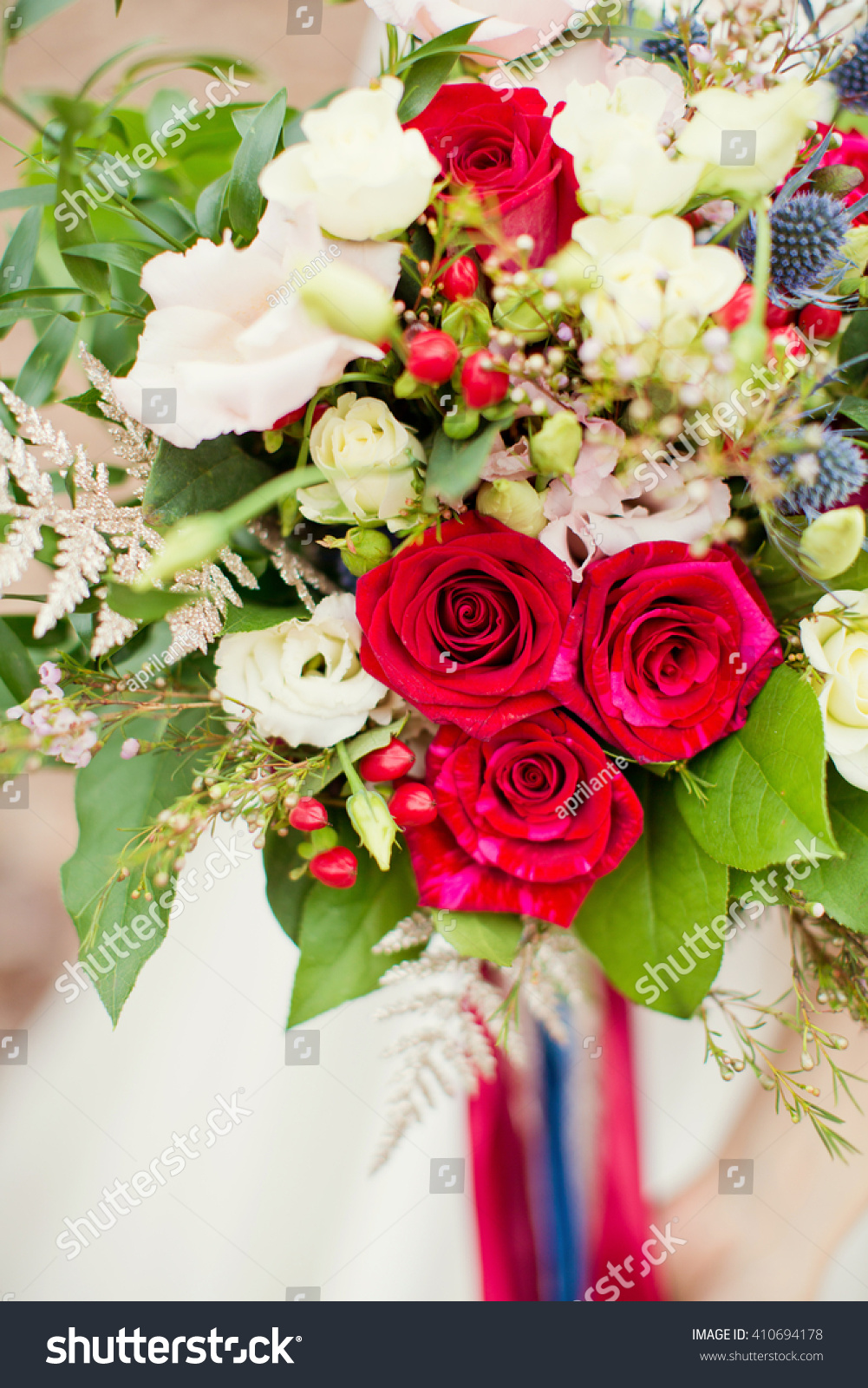 Wedding boho bouquet red white blue stock photo royalty free wedding boho bouquet with red white and blue flowers izmirmasajfo Gallery