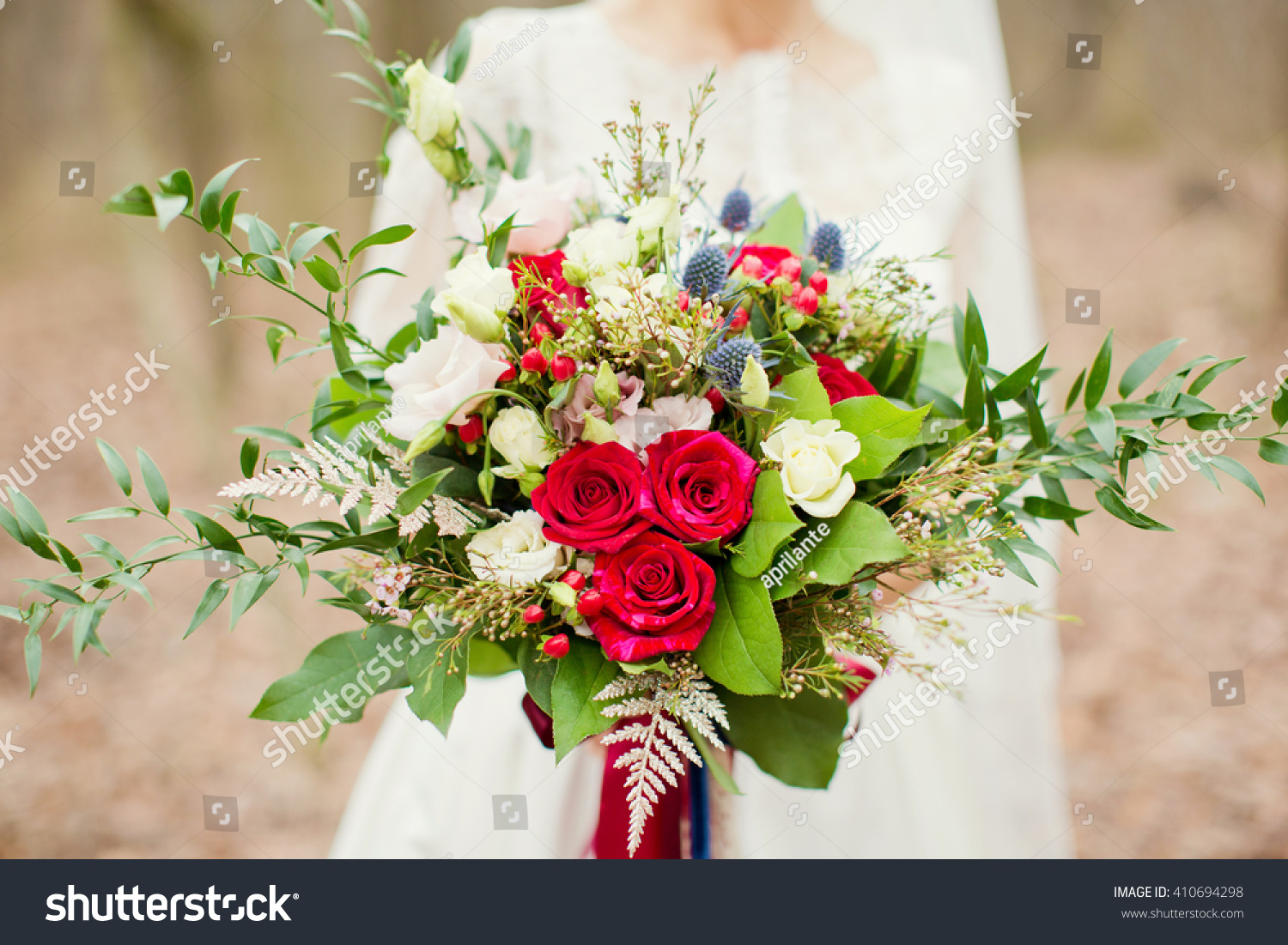 Wedding boho bouquet red white blue stock photo royalty free wedding boho bouquet with red white and blue flowers izmirmasajfo
