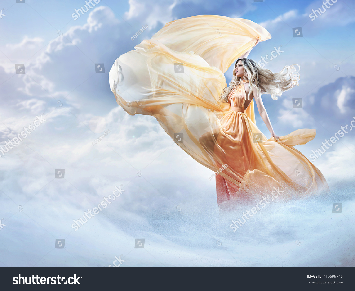 dreamy image beautiful young lady clouds stock photo (edit now