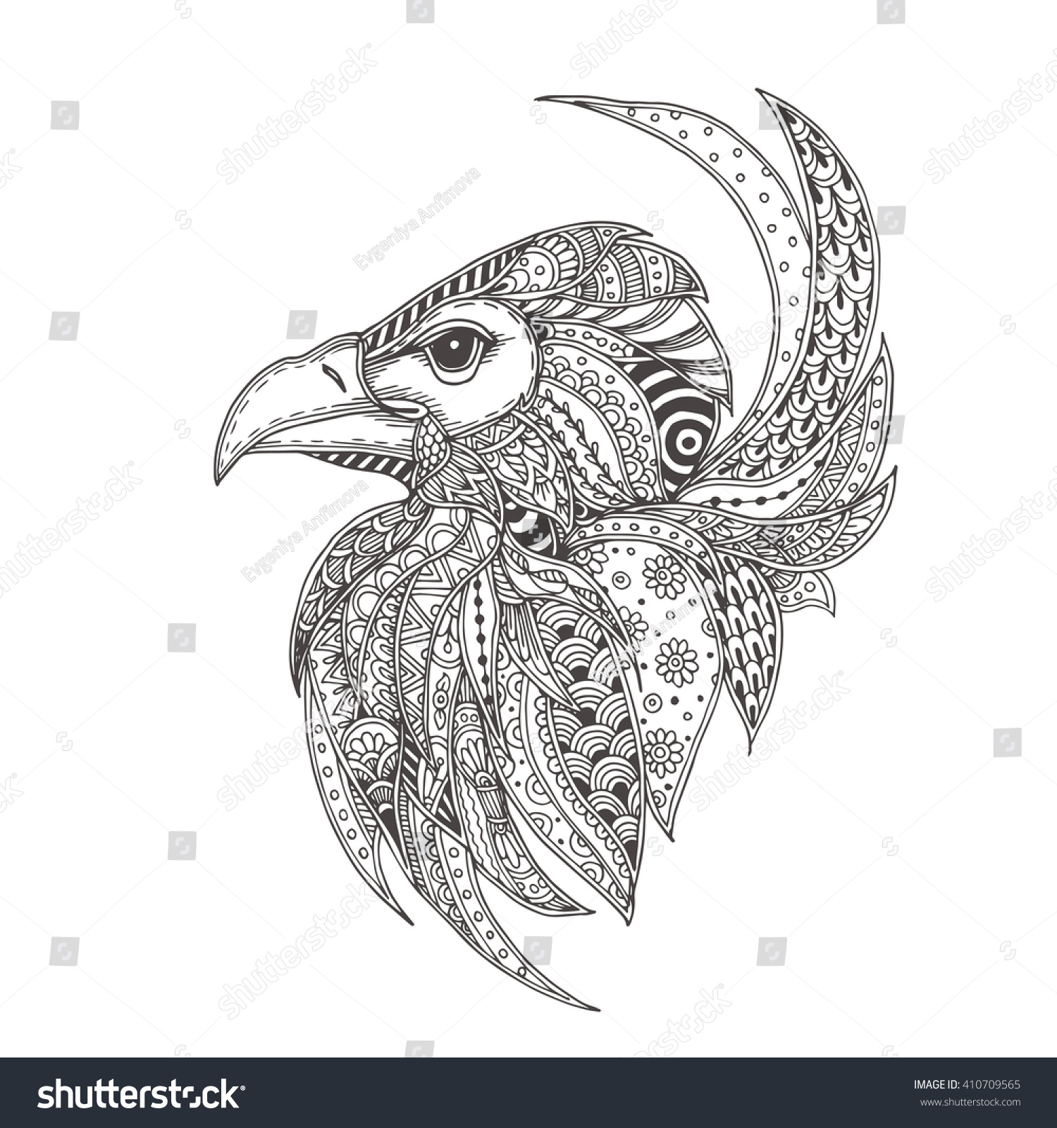 Eagle Ethnic Floral Doodle Pattern Coloring Stock Vector