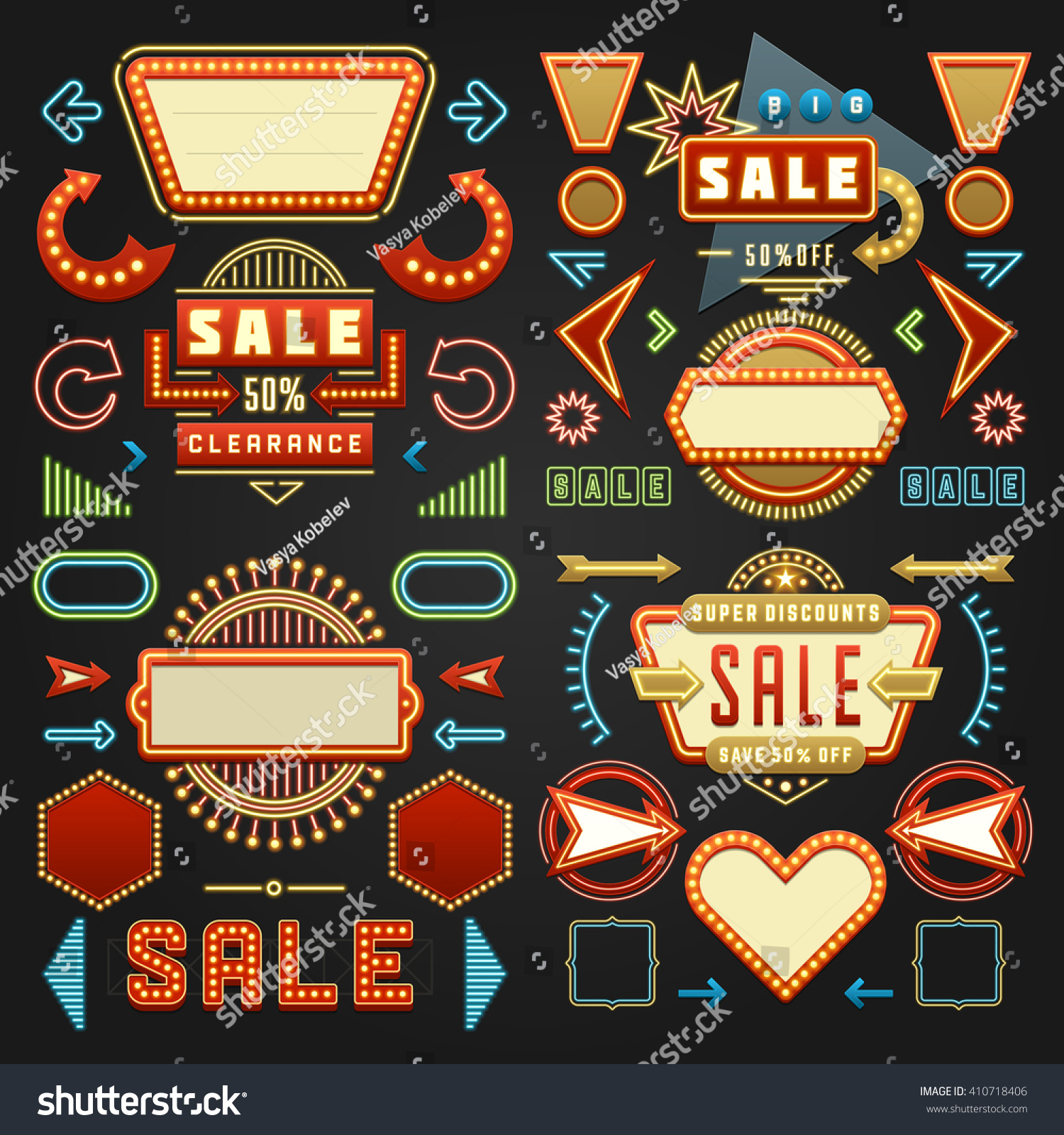 Retro American 1950s Sign Design Elements Stock Vector ...
