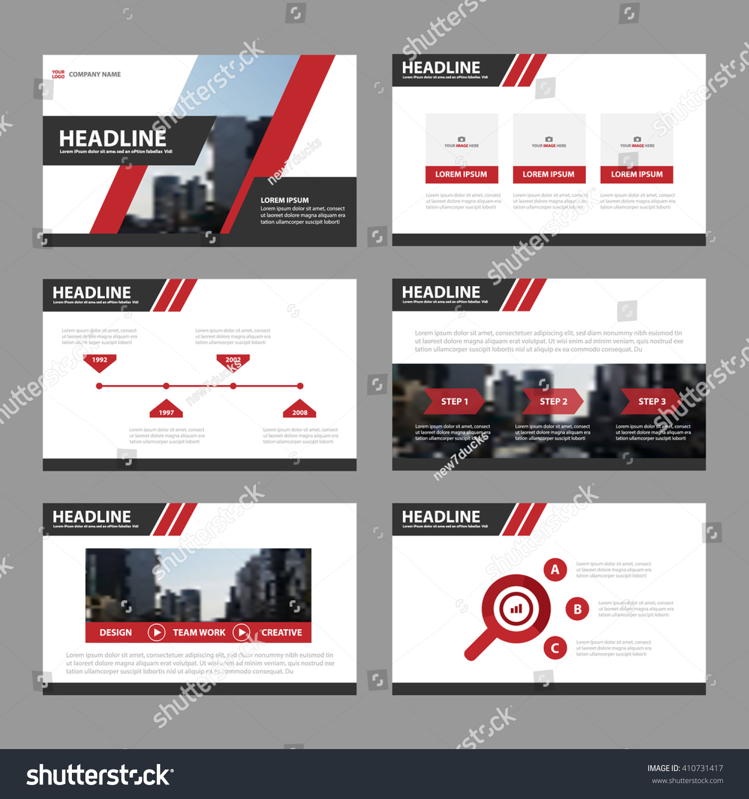 powerpoint brochure templates - red black presentation templates infographic elements