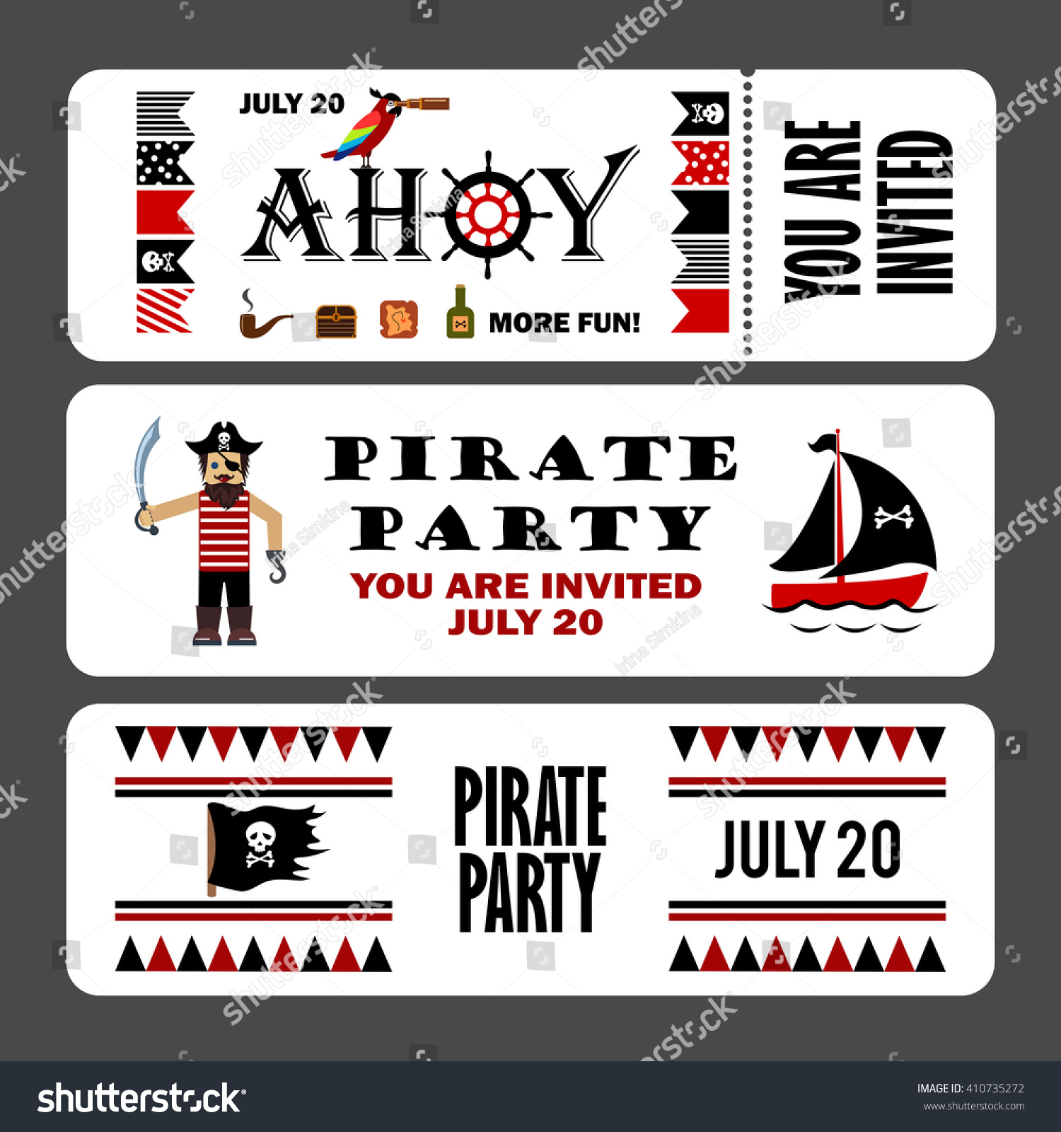 Printable Set Vintage Pirate Party Invitations Stock Vector HD ...