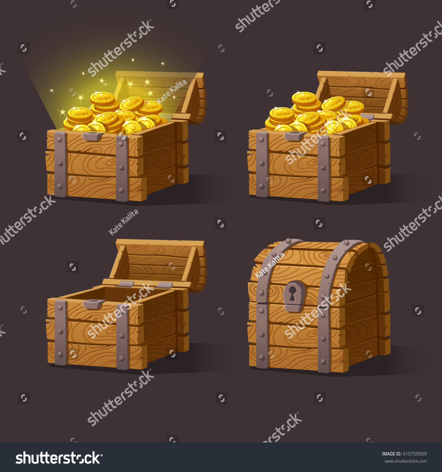 wooden chest set game interfacevector illustration stock vector