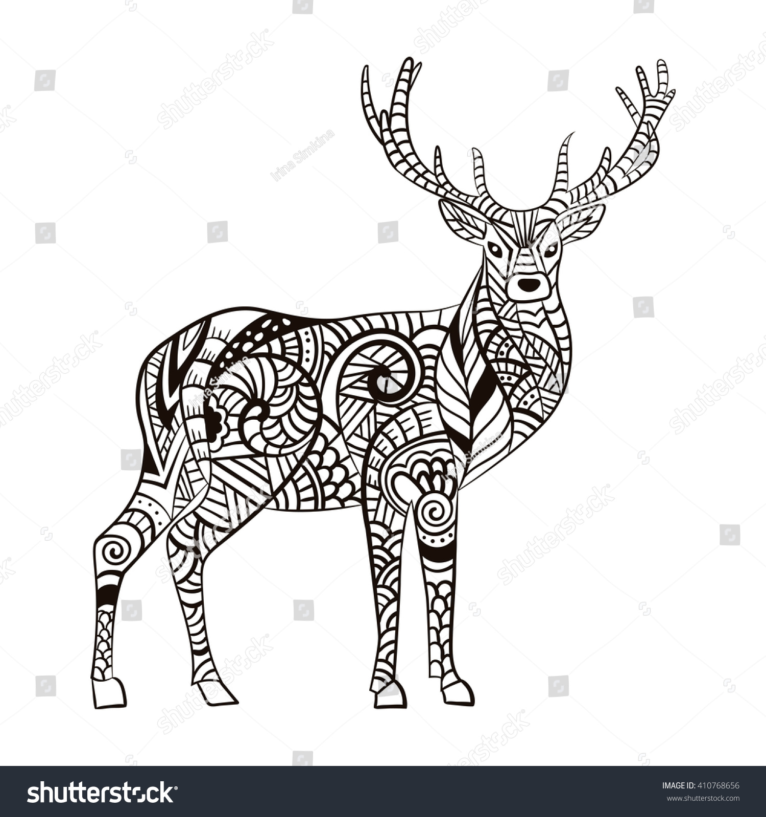 deer hand drawn deer anti stock vector 410768656 shutterstock