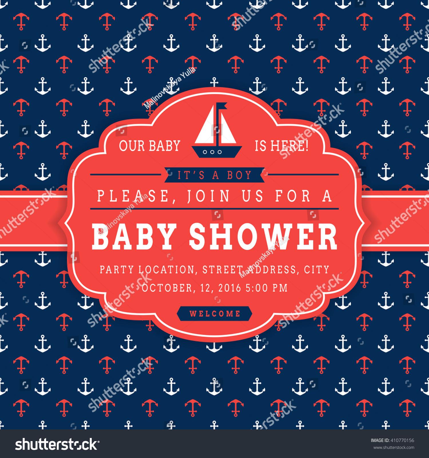 Nautical Baby Shower Sea Theme Baby Stock Vector