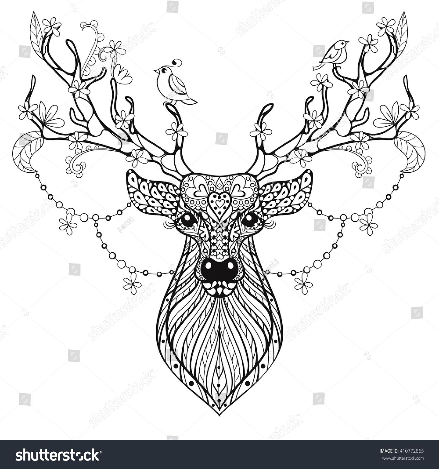 Zentangle Hand Drawn Magic Horned Deer Stock Vector