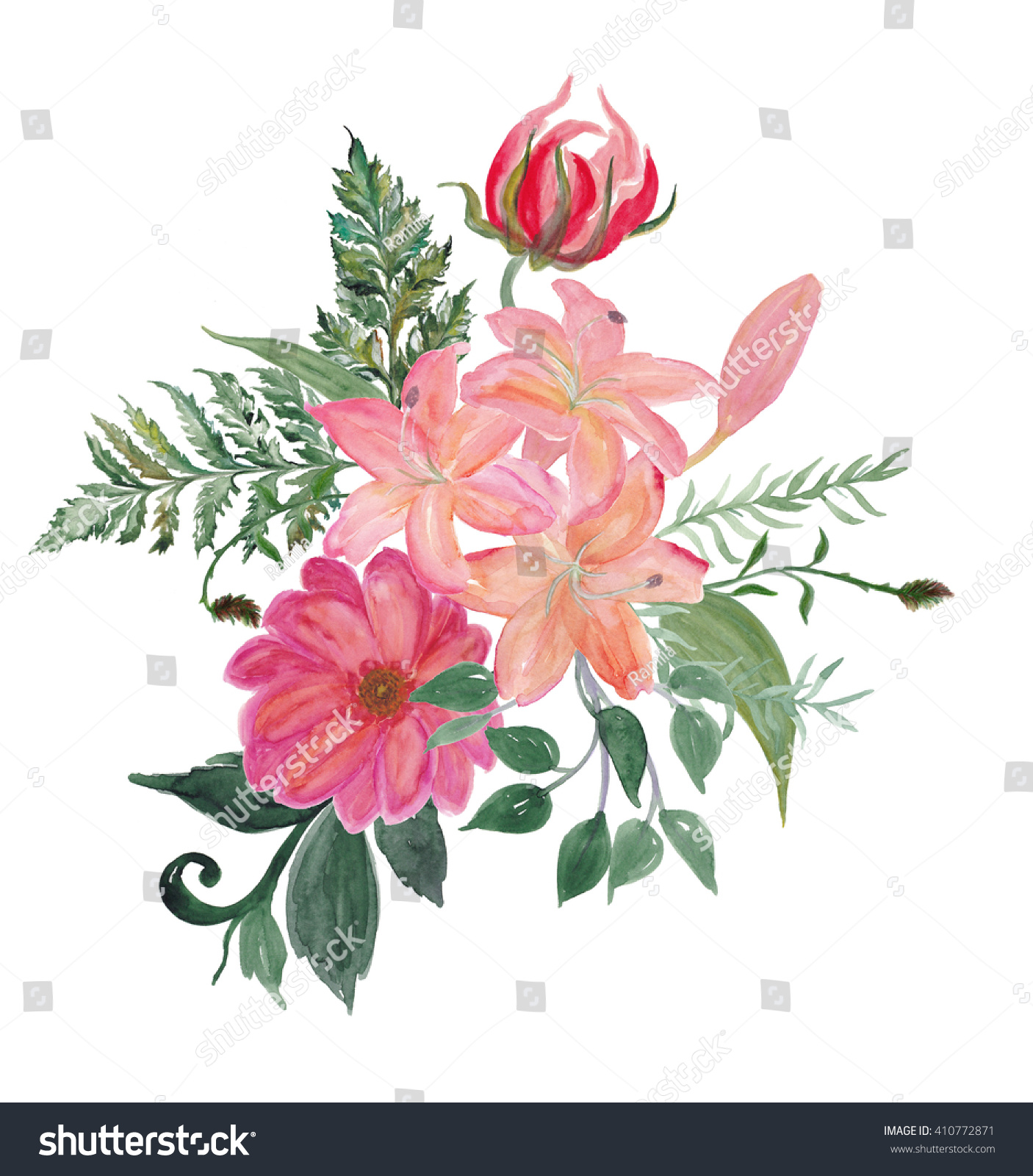 Colorful Floral Collection Leaves Lily Flowers Stock Illustration