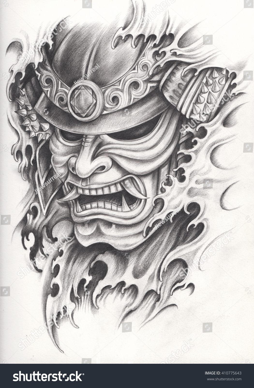 Samurai warrior tattoo designhand pencil drawing stock for Drawing tattoos on paper