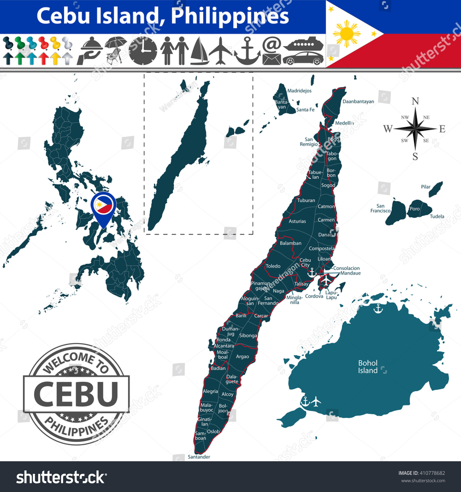 Vector cebu island philippines map contains vector de stock410778682 vector of cebu island philippines map contains bohol island roads and travel icons gumiabroncs Images