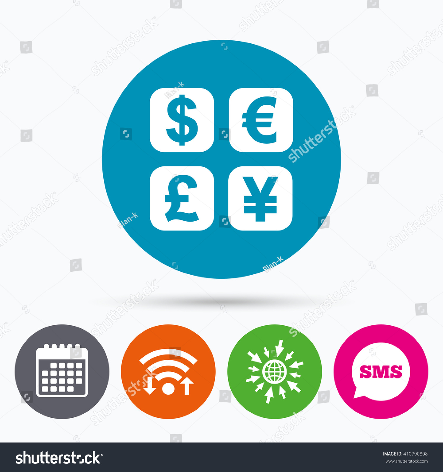 Wifi Sms Calendar Icons Currency Exchange Stock Vector 410790808