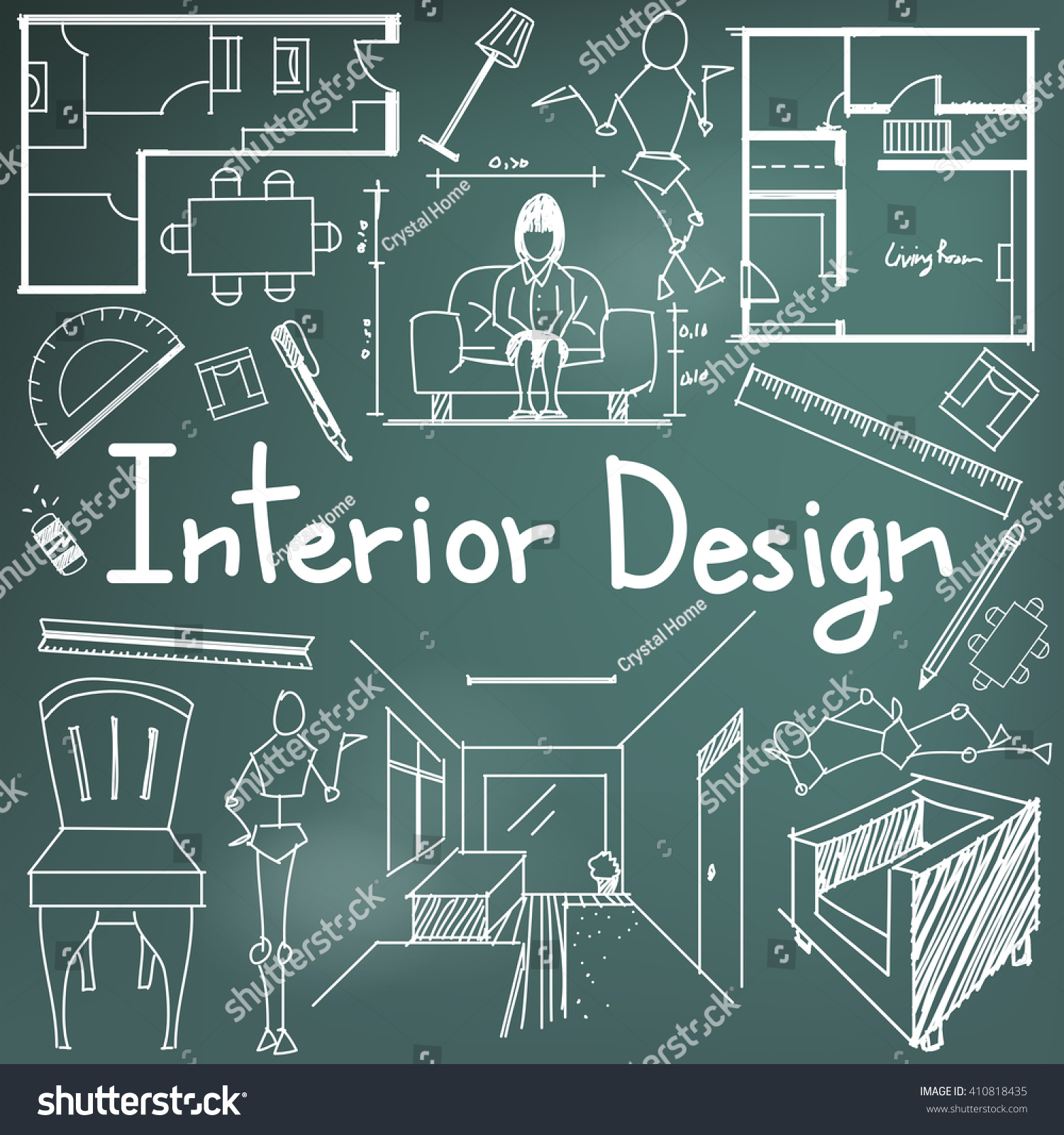 Interior design building blueprint profession education stock vector interior design and building blueprint profession and education handwriting doodle tool sign and symbol in background malvernweather Choice Image
