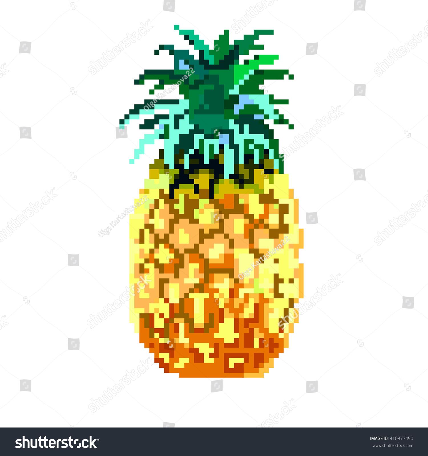 Pineapple Pixel Image Pixel Pineapple Stock Photo