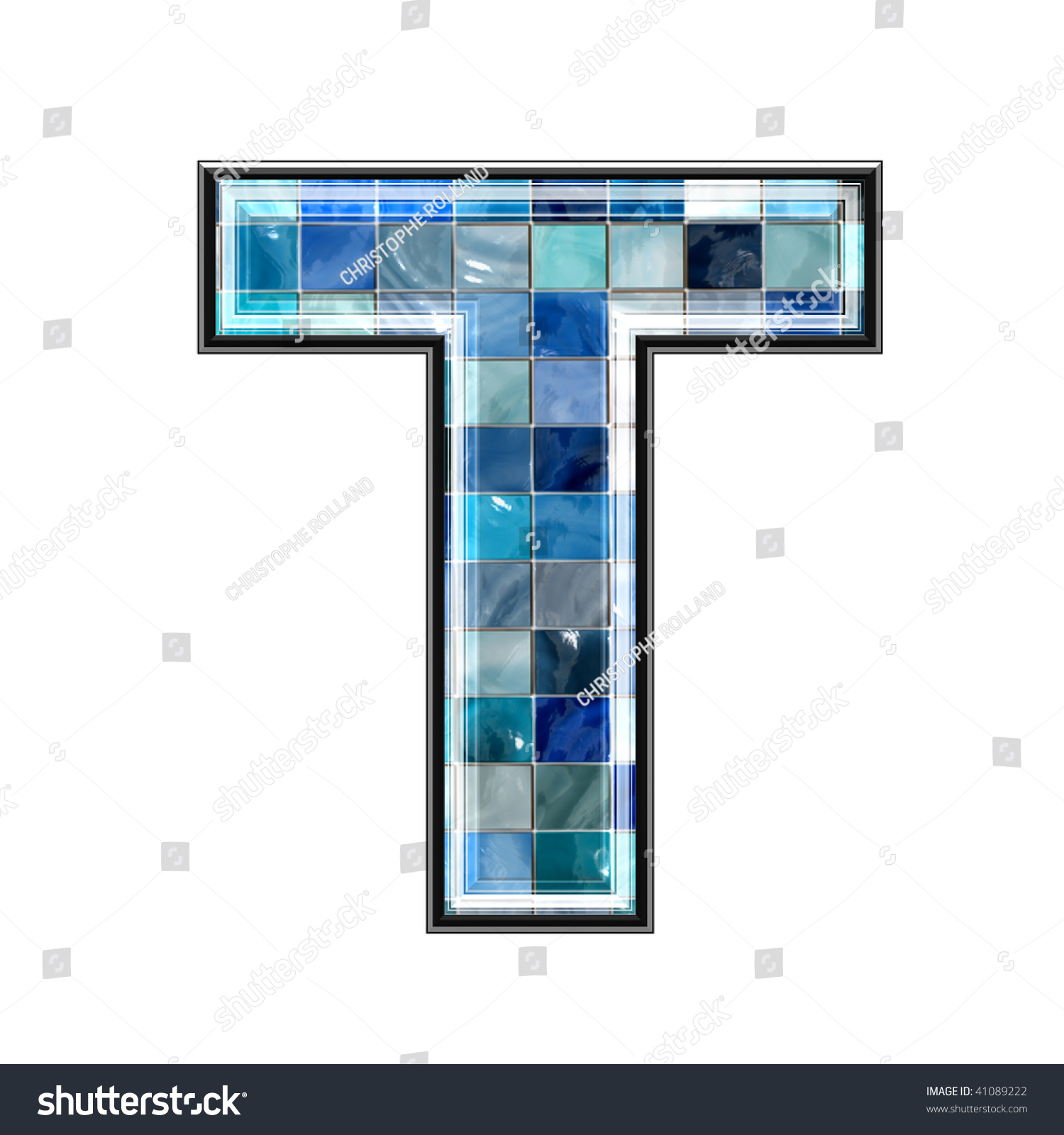 3d letter ceramic tiles texture t stock illustration 41089222 3d letter with ceramic tiles texture t doublecrazyfo Image collections