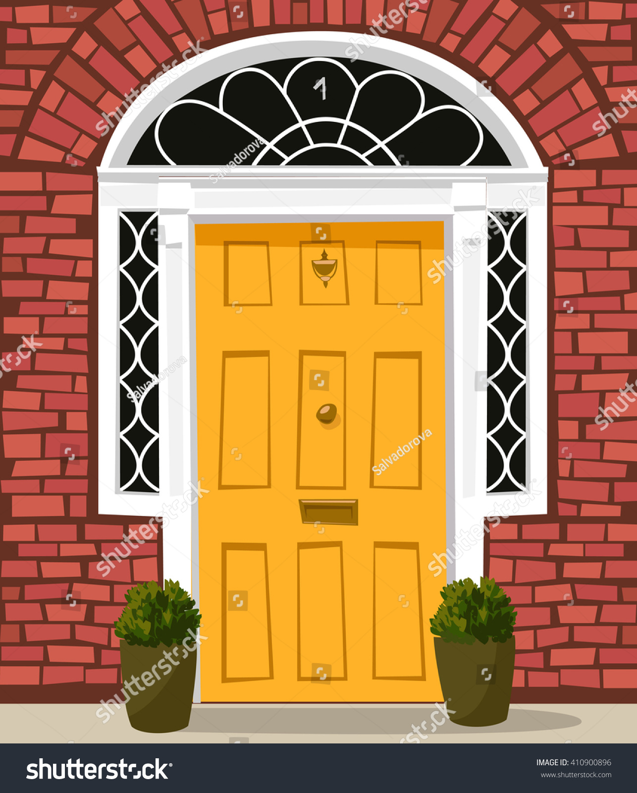 Vector De Stock Libre De Regalias Sobre Traditional Yellowpainted Front Door Letterbox Doorknocker410900896