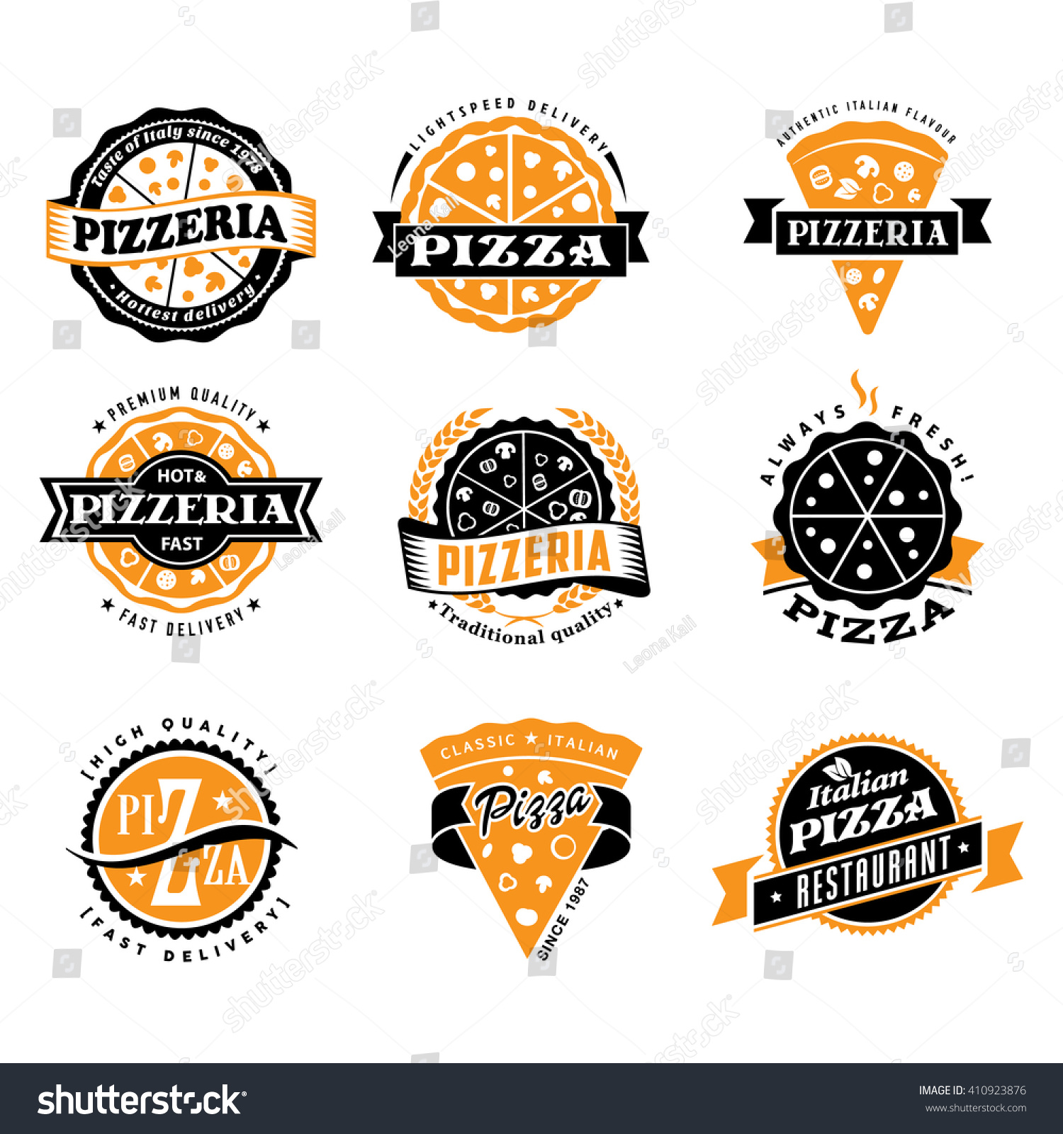 vector pizza logo set vintage food stock vector royalty free