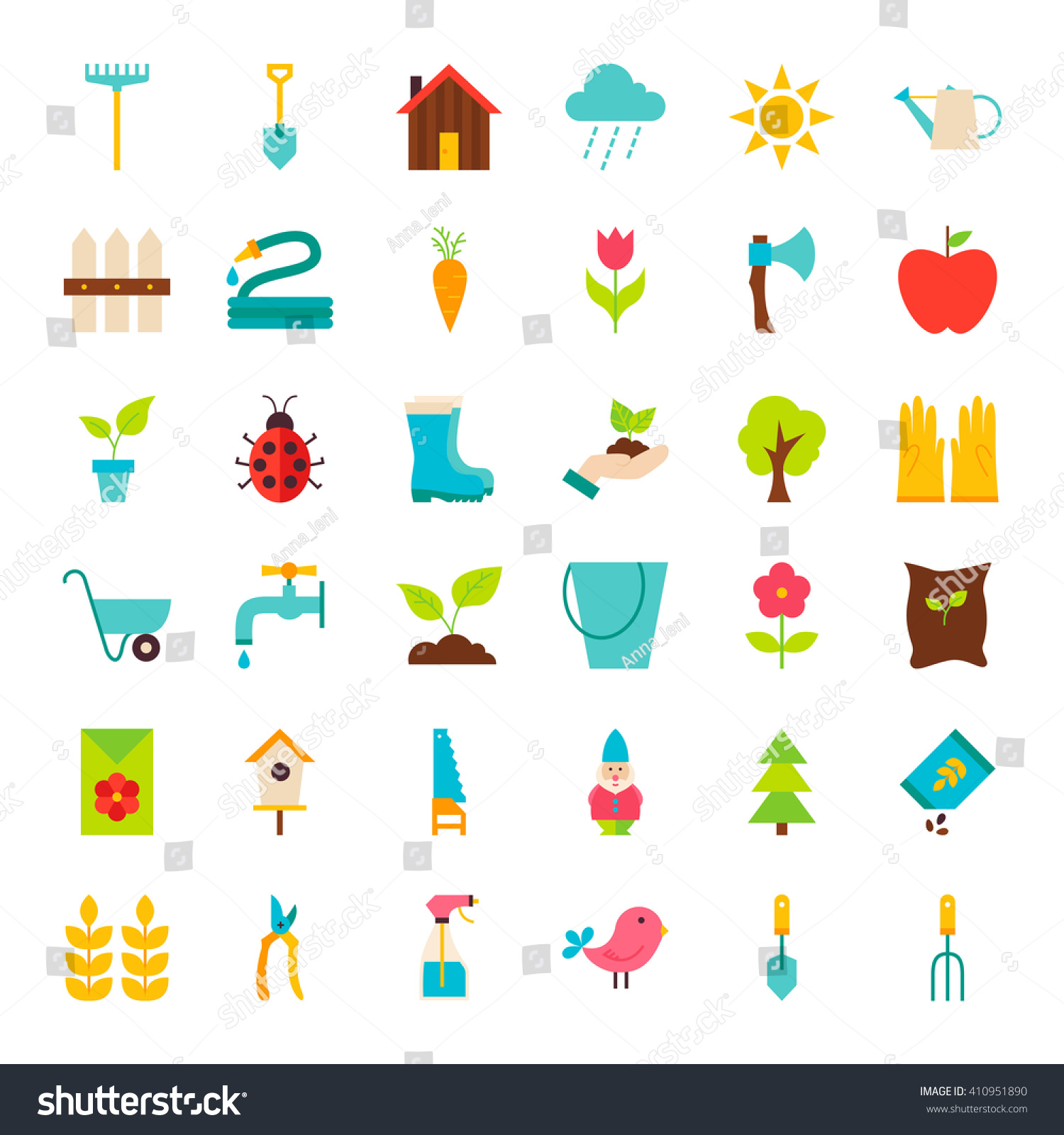 Big Spring Garden Objects Set. Flat Design Vector Illustration. Collection  Of Nature Gardening Items