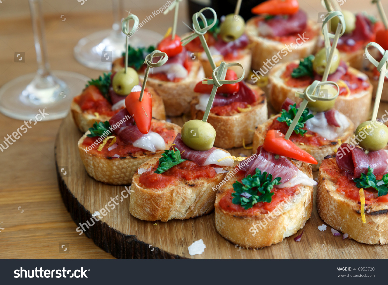 pintxos tapas spanish canapes party finger food stock
