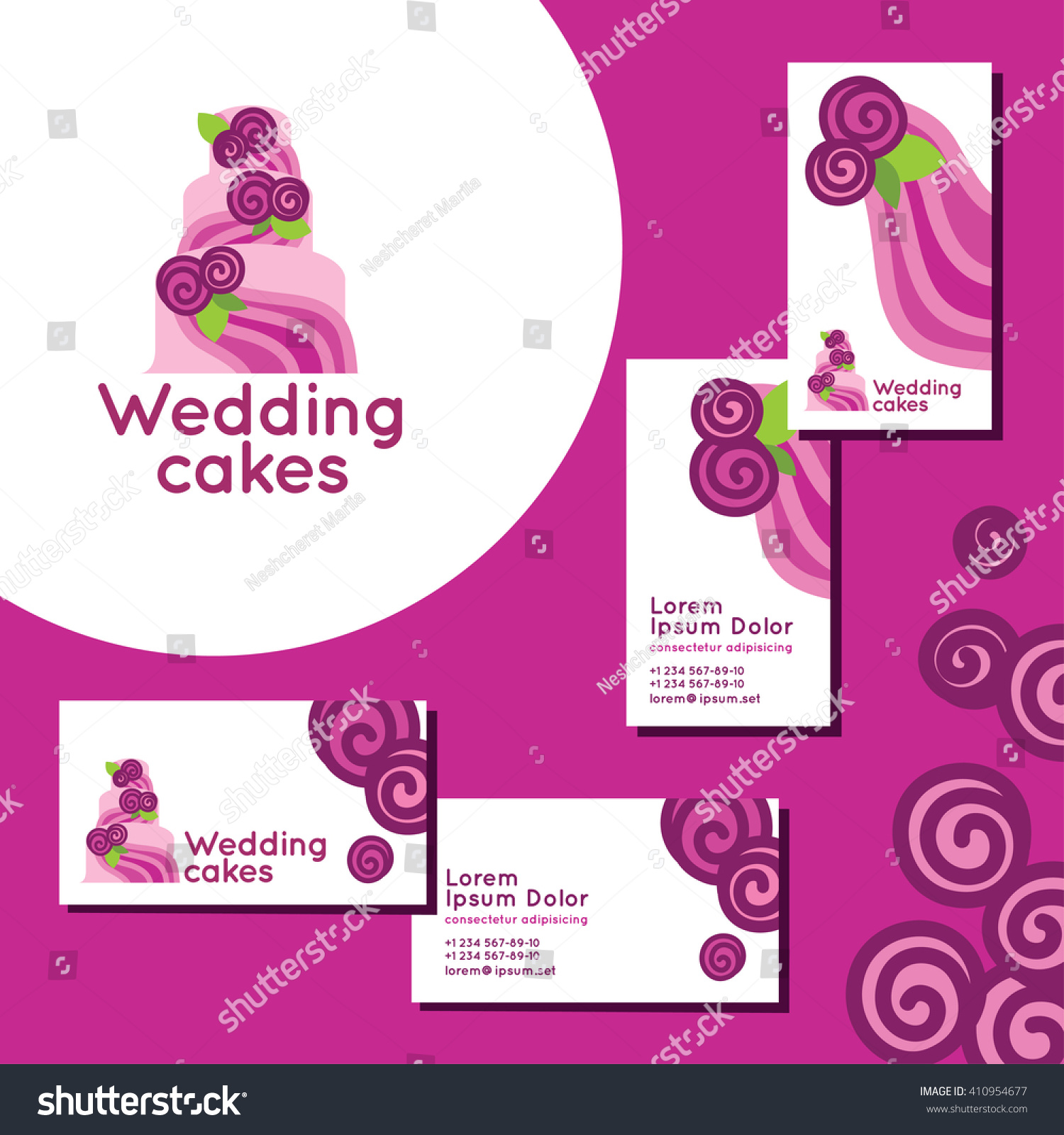 Wedding Cakes Logo Set Business Cards Stock Vector 410954677 ...