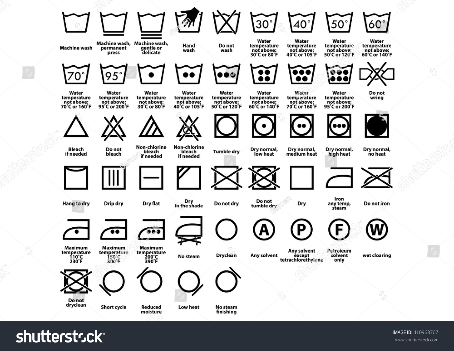 Laundry Symbol Care Symbols Vector Stock Vector Royalty Free