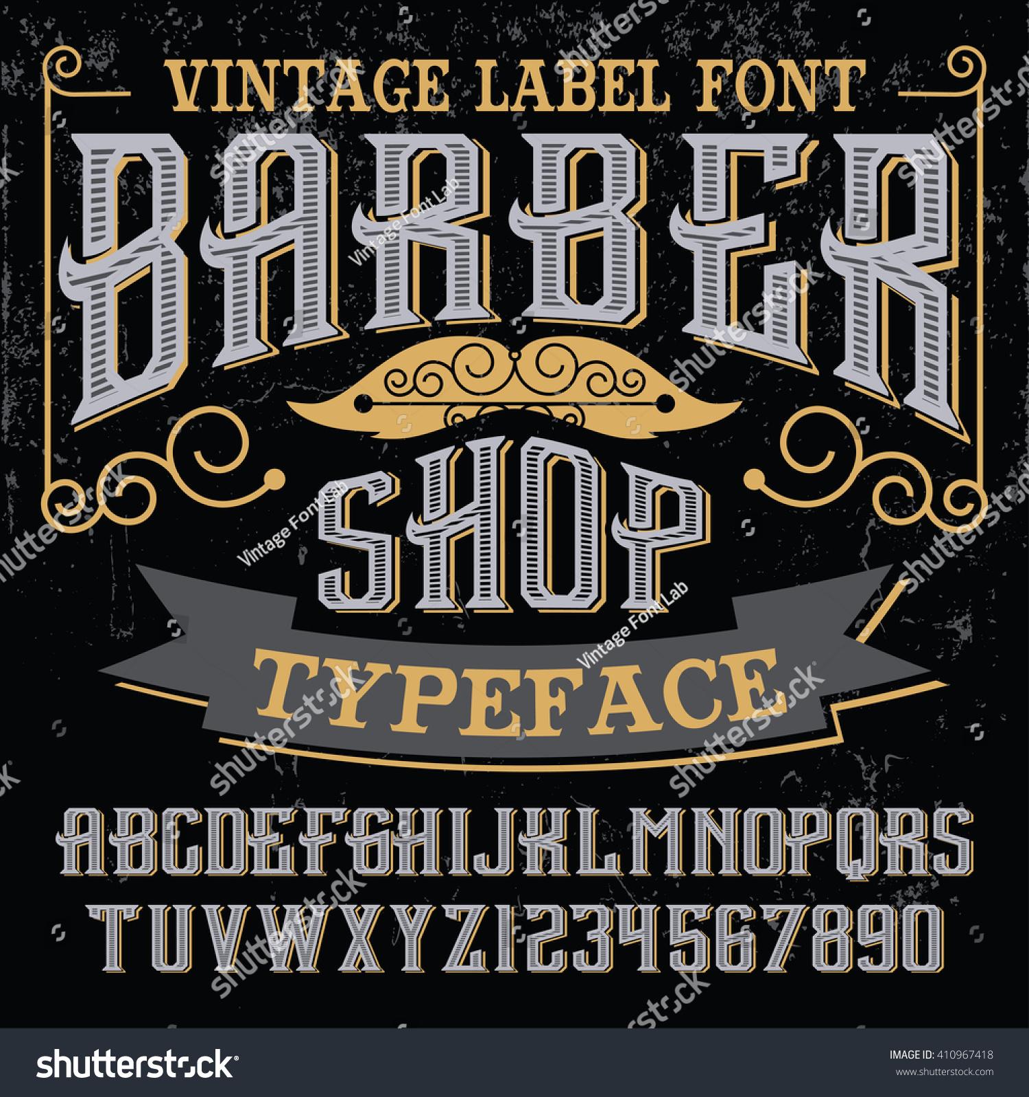 Vintage Label Font - Barber Shop - Vector Font, Vintage Label Font ...