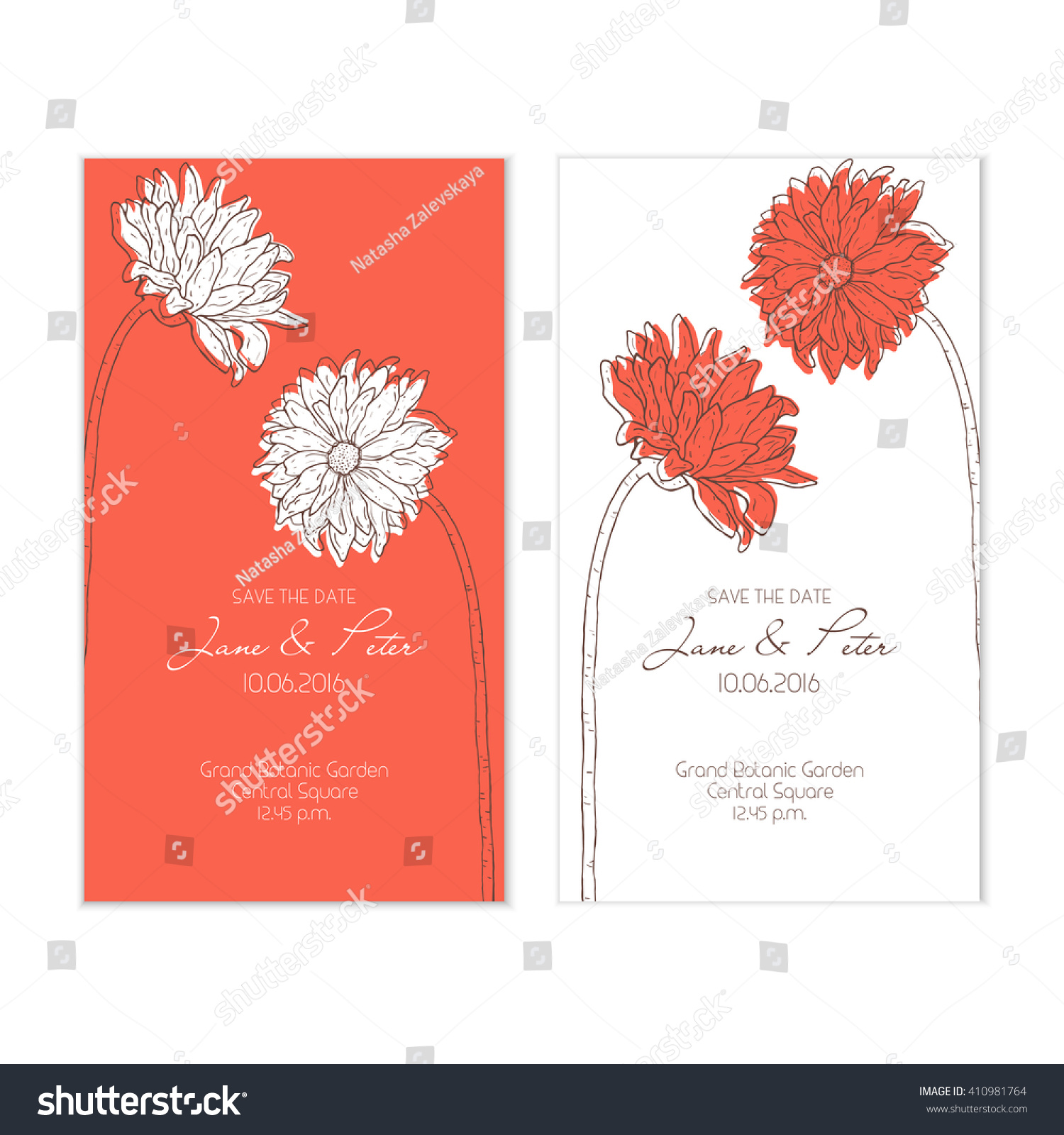 Floral Wedding Set Red Color Beautiful Stock Vector 410981764 ...