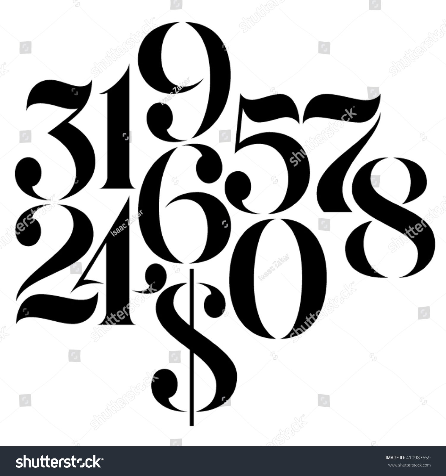 Line Art Numbers : Vector custom design elegant numbers us