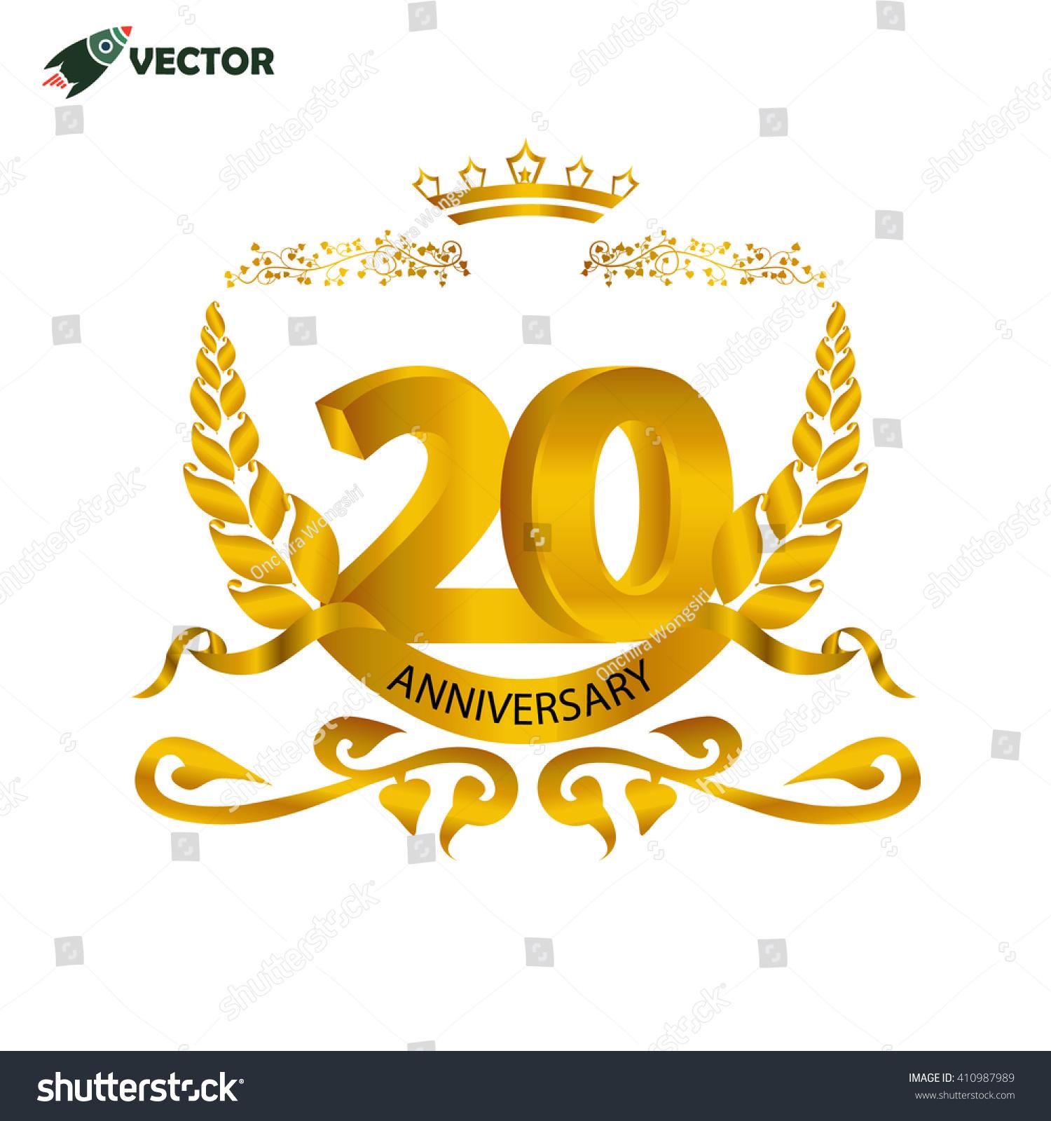 20th year anniversary wedding birthday winner stock vector 410987989 20th year anniversary wedding birthday and winner label and sign in gold biocorpaavc Choice Image