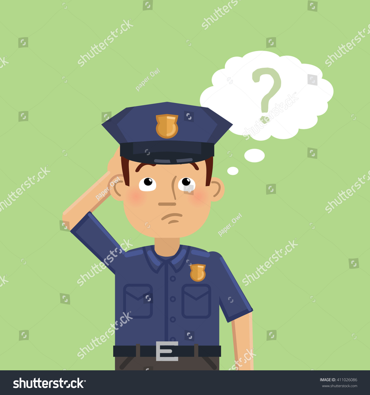 illustration confused police officer thinking making stock vector