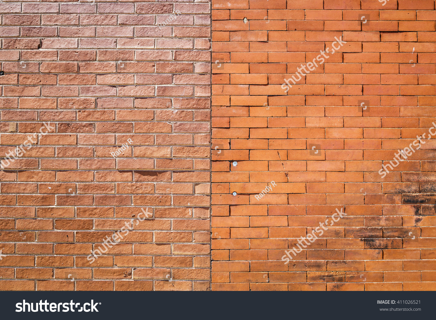 Different Types Of Exterior Walls : Exterior orange brick wall two different stock photo
