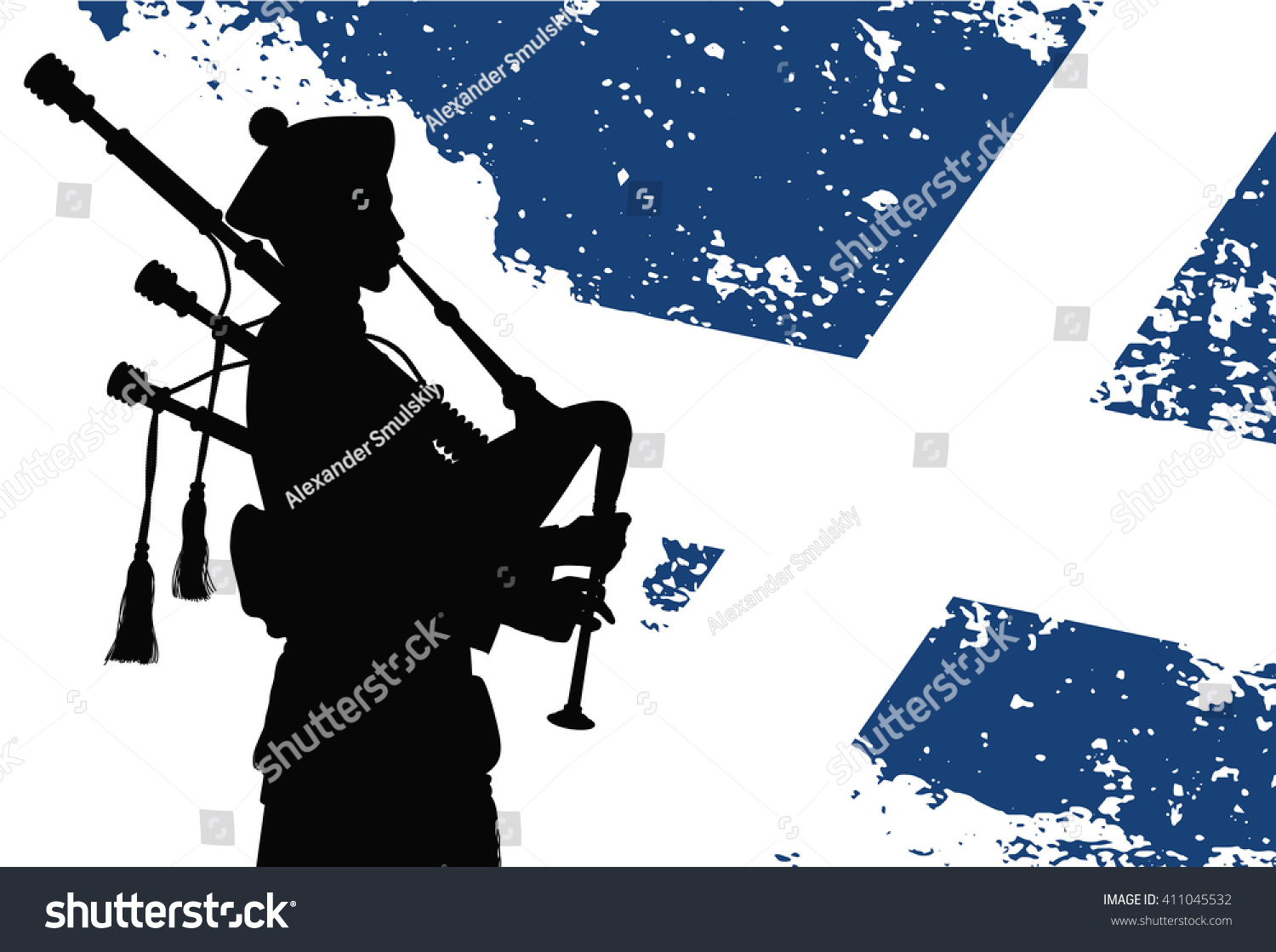 silhouette bagpiper scottish flag on background stock vector