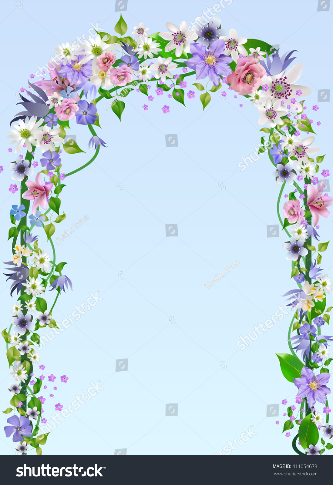 vector wedding arch pergola overgrown with vines and flowers for designanemones primroses