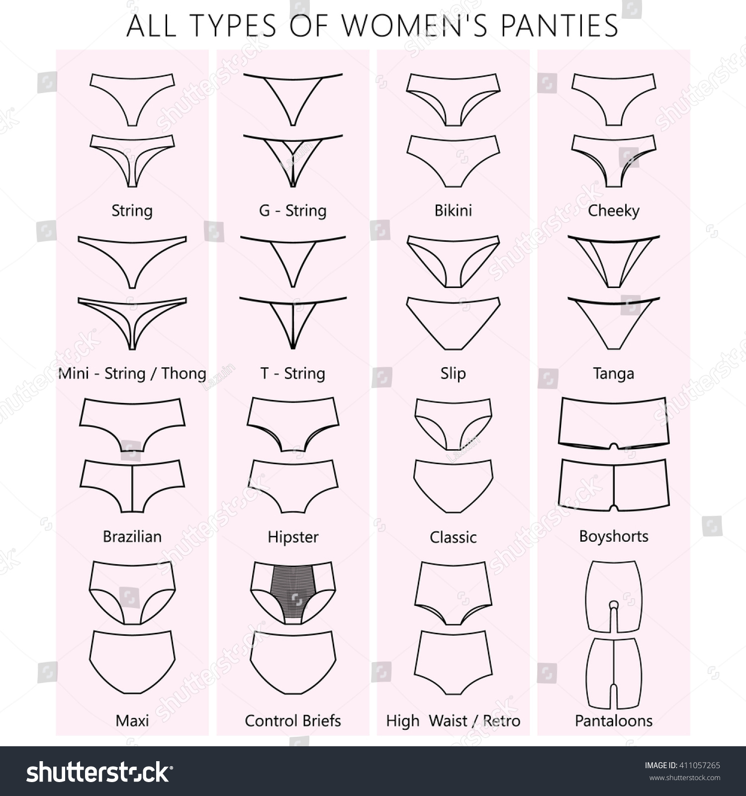 All Types Womens Panties Vector Set Stock Vector 411057265 ...