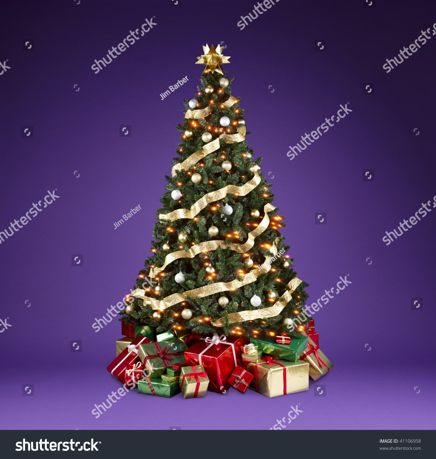 Beautifully Decorated Christmas Tree With Lights Ribbons
