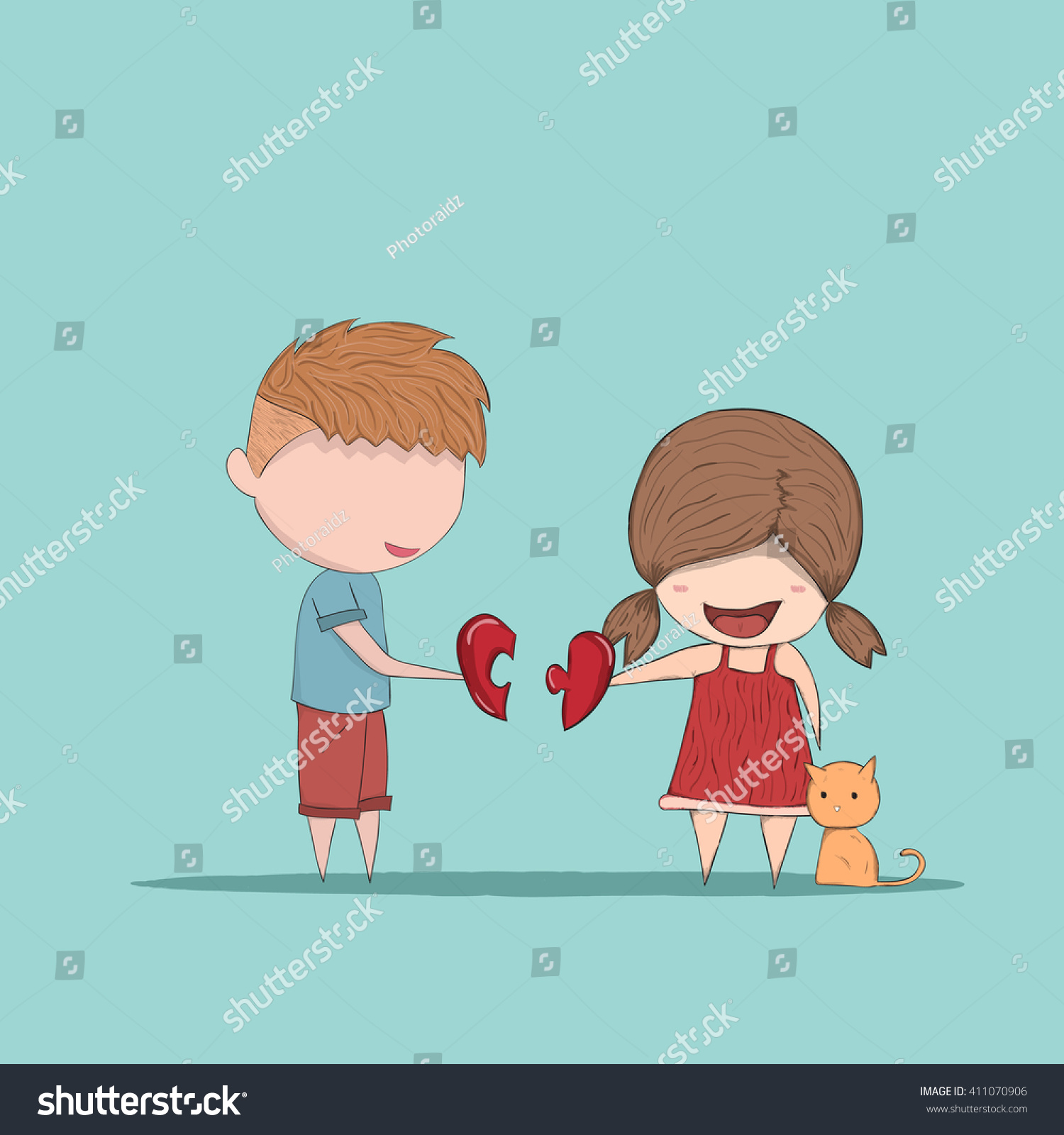 Cute cartoon boy and girl couple in love cute valentines day card drawing by