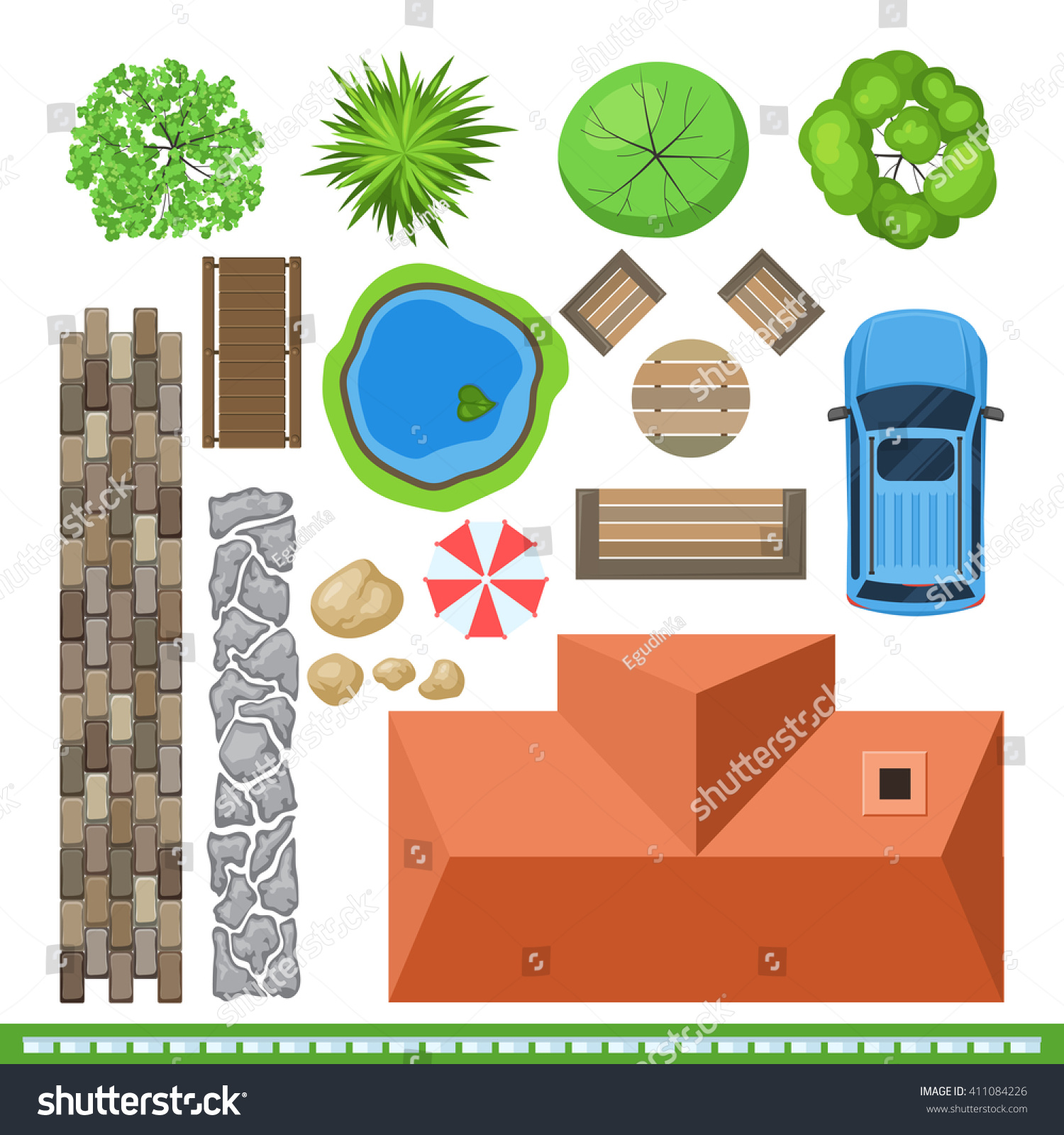 Landscape elements project design top view stock for House design top view