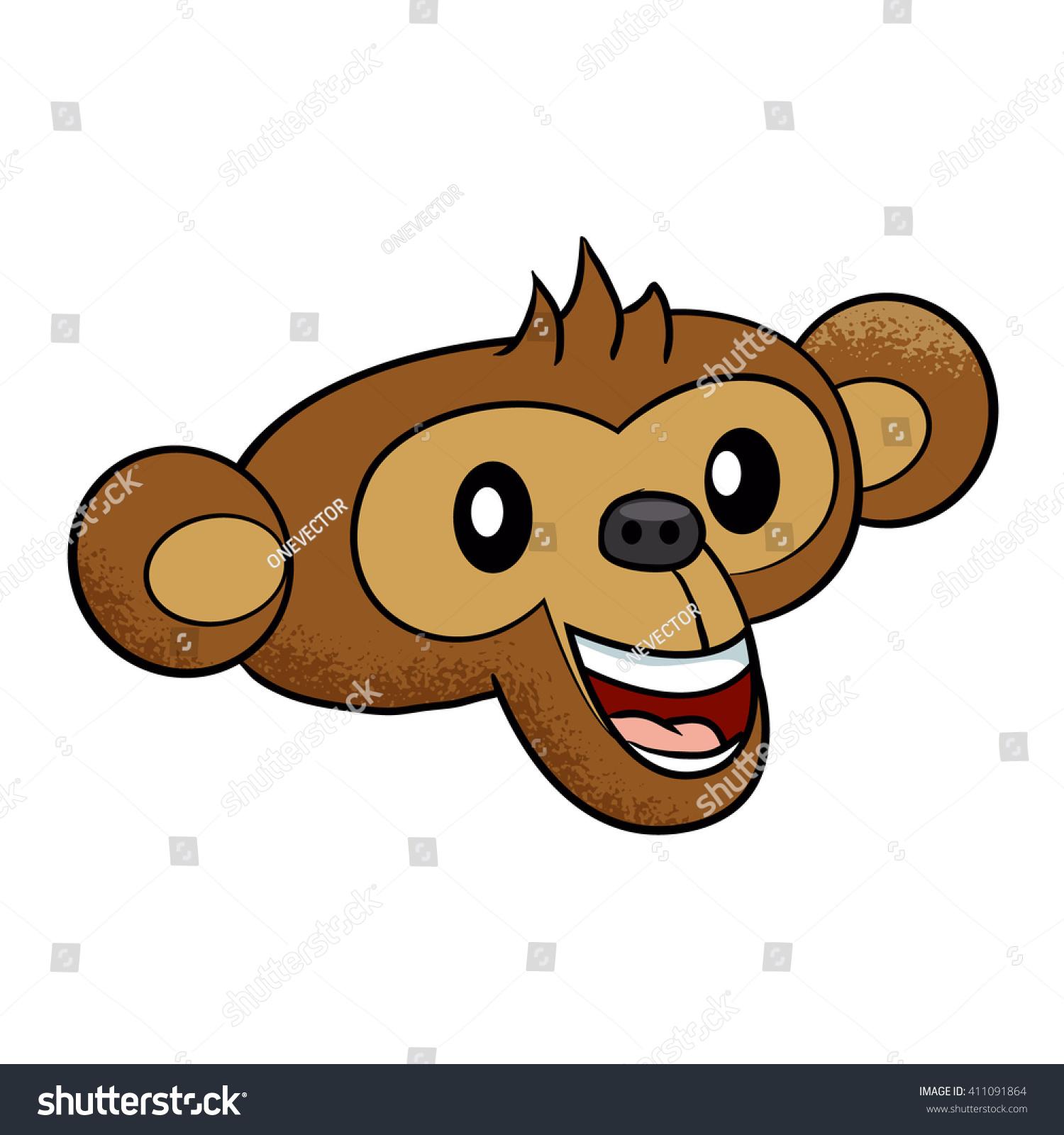 Happy Monkey Face Cartoon Stock Vector Royalty Free 411091864