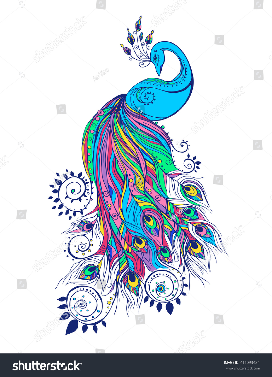 colorful fashion card peacock color bird stock vector 411093424 colorful fashion card with peacock color bird for the design of textiles clothing t
