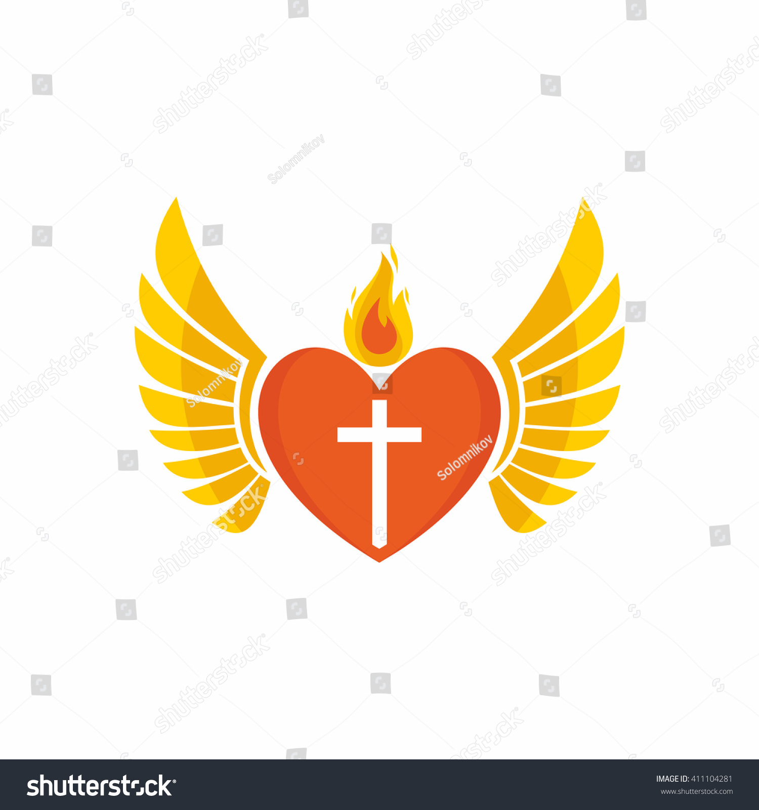 Church Logo Christian Symbols Jesus Heart Stock Vector Royalty Free