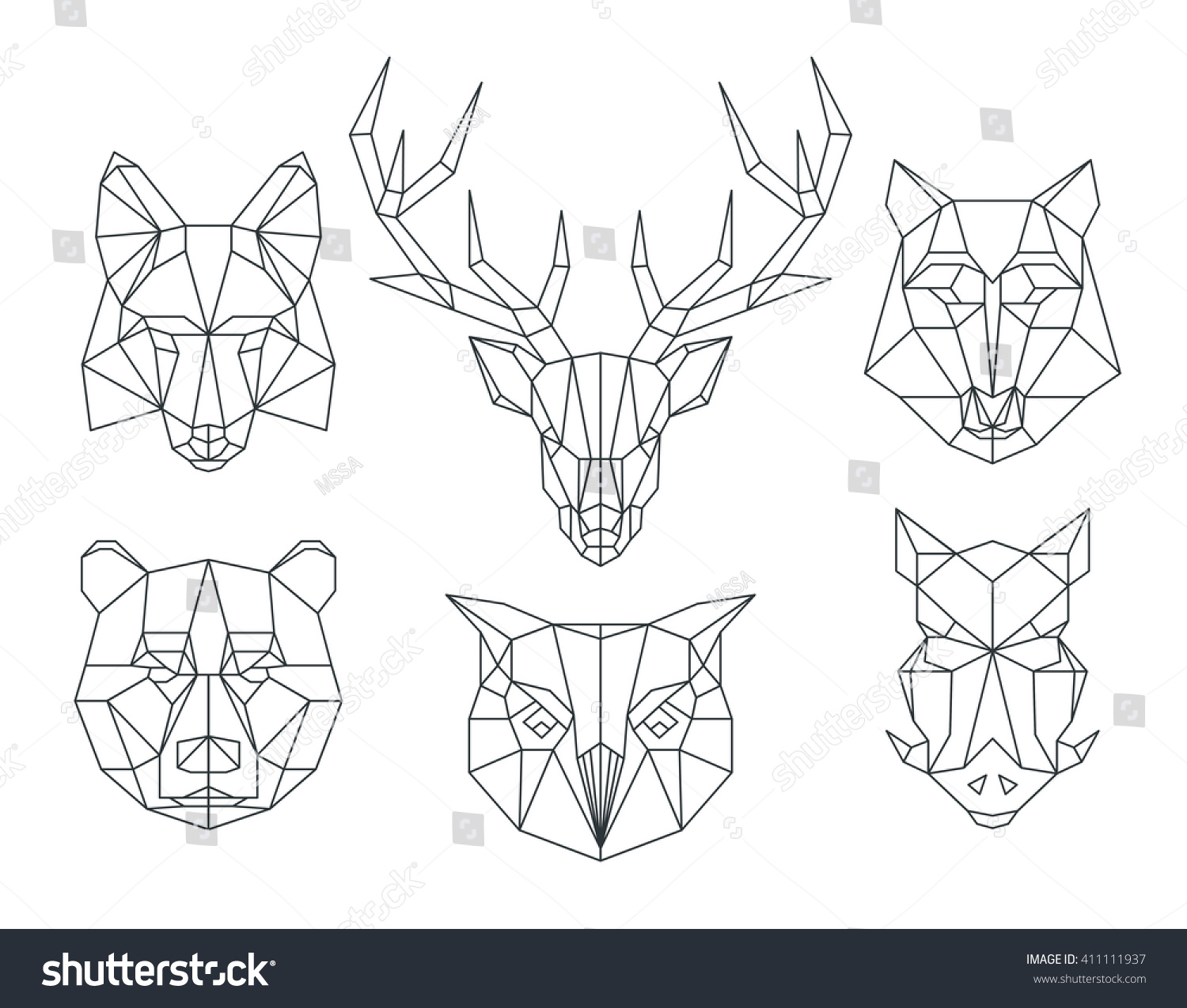 Low Poly Animals Heads Triangular Thin Stock Vector ... - photo#32